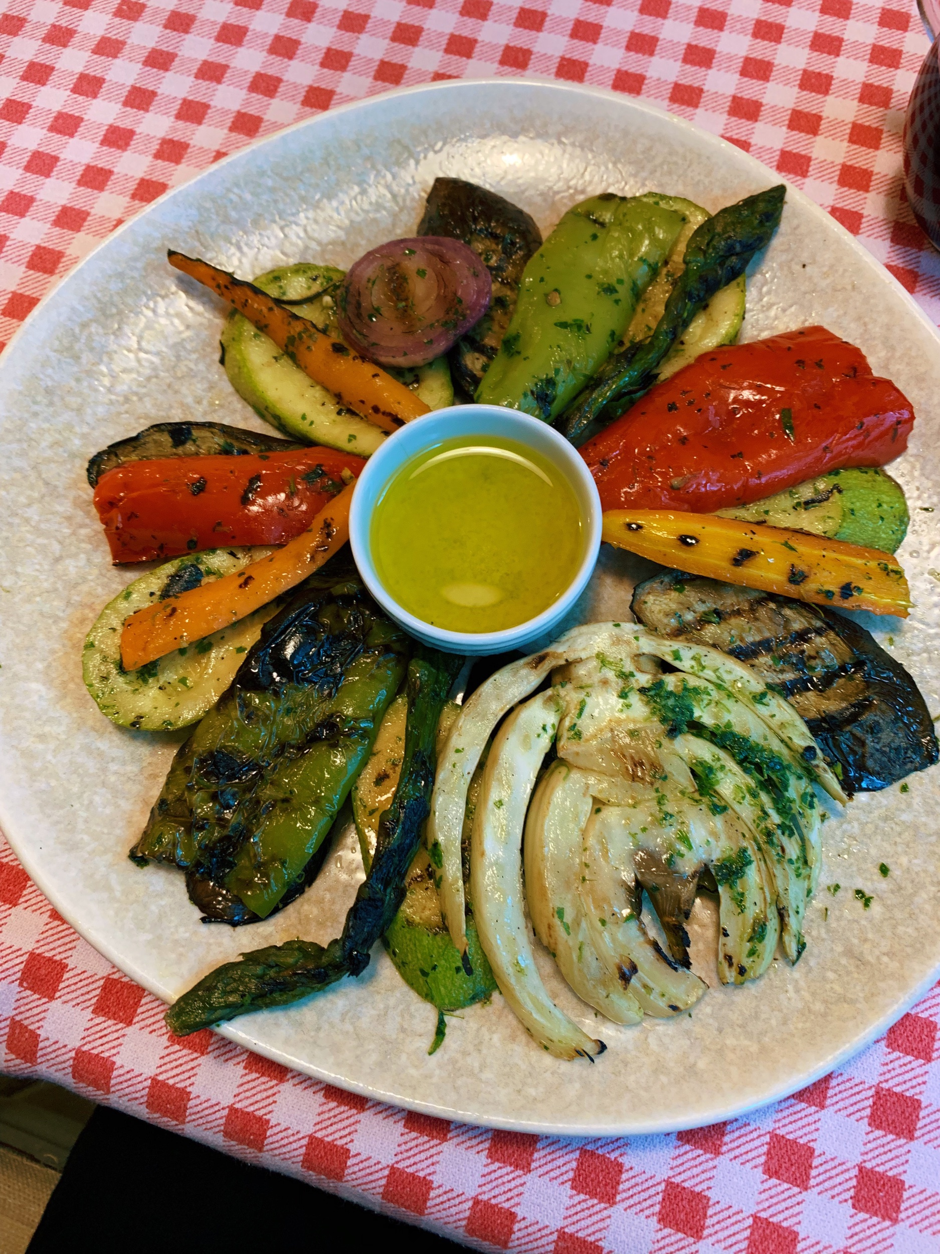 Grilled vegetables at ERA. This restaurant has a mix of Italian and Albanian food. Italy has had a big influence on Albania, which is just a ferry ride away. At one point under the Mussolini government, Italy occupied Albania.