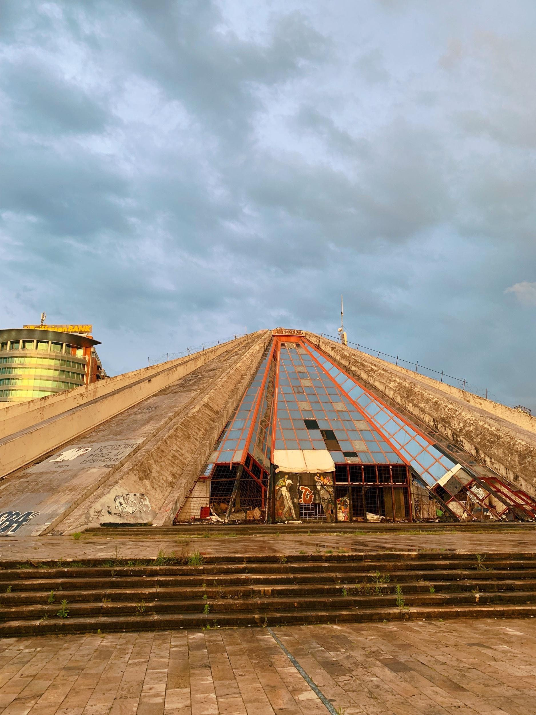 The Pyramid of Tirana, originally built as a museum to honor the dictator Enver Hoxha.
