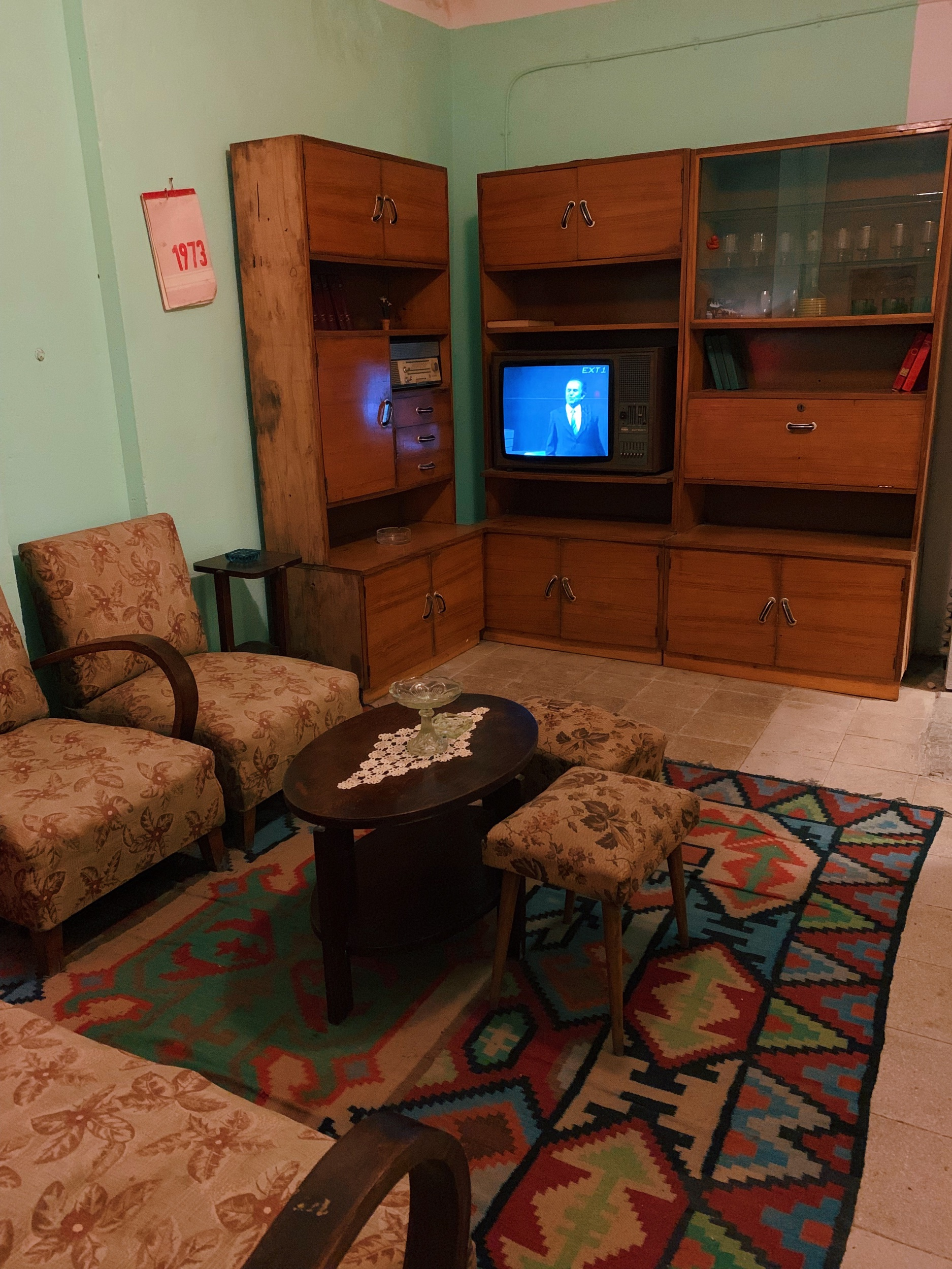 An example home from the Communist era, which you can see if you take a bus to  BUNK'Art 1  in Tirana. While this room is cool, the rest of the museum isn't as great at giving you the feeling of that era. Stick to BUNK'Art 2, which is in town, if you're short on time.