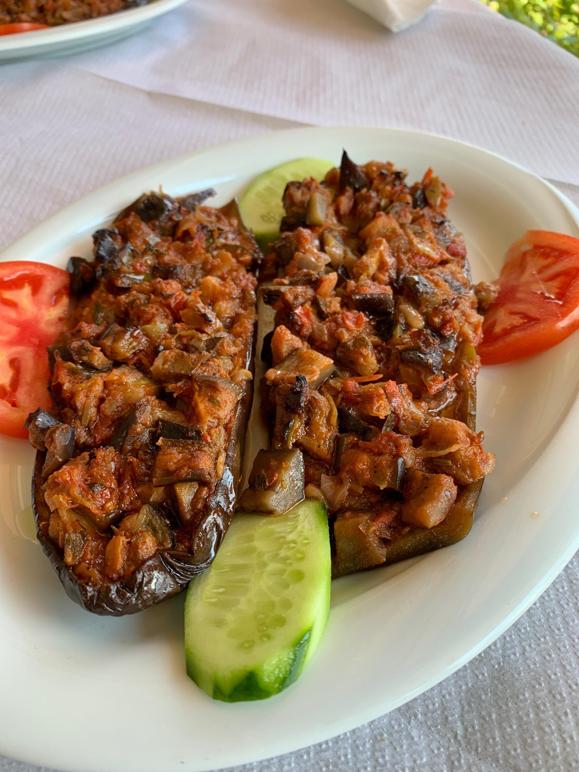 You'll find stuffed eggplant on many menus in Albania.