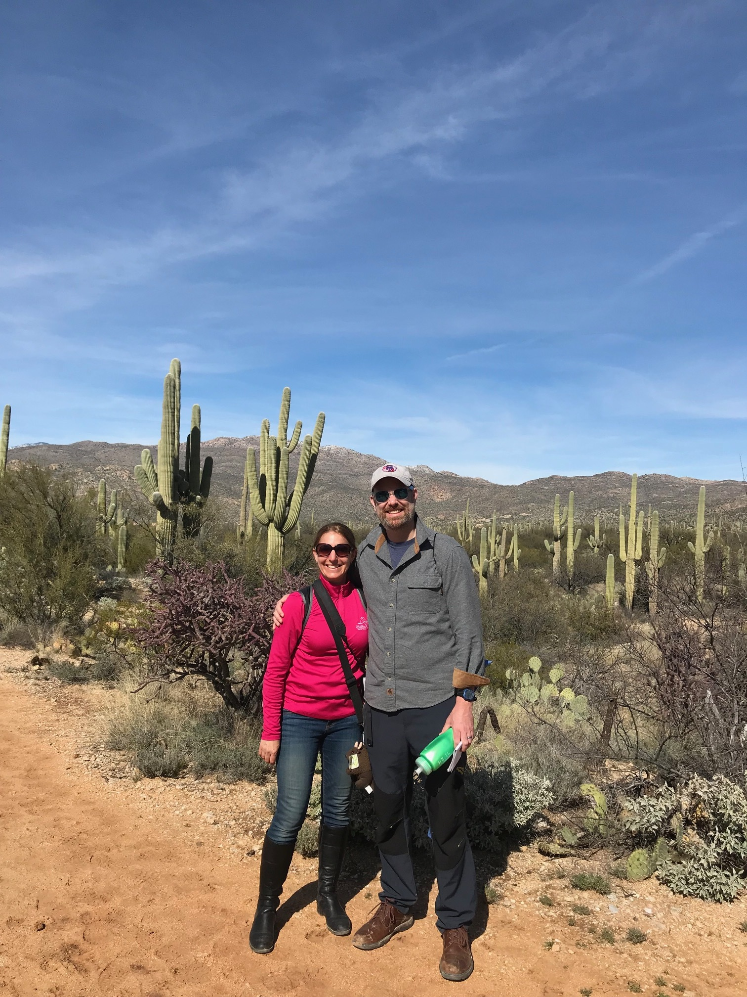 Danielle and her husband and podcast partner, Bryan, at Saguaro National Park in Arizona.