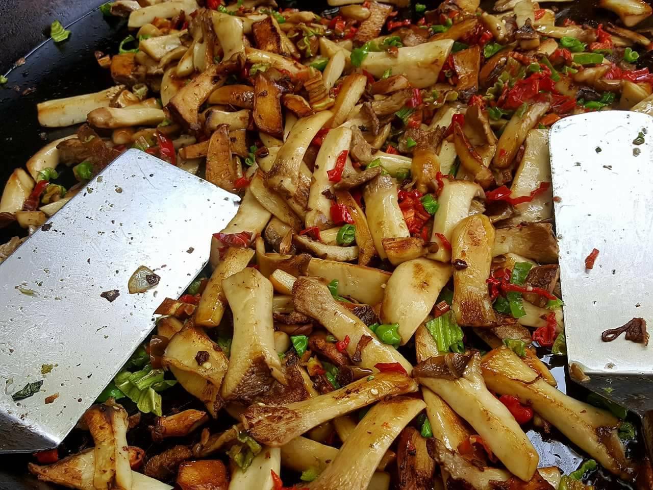 Chef Jodie Rubin sauted 150 lbs of trumpet mushrooms at Backyard