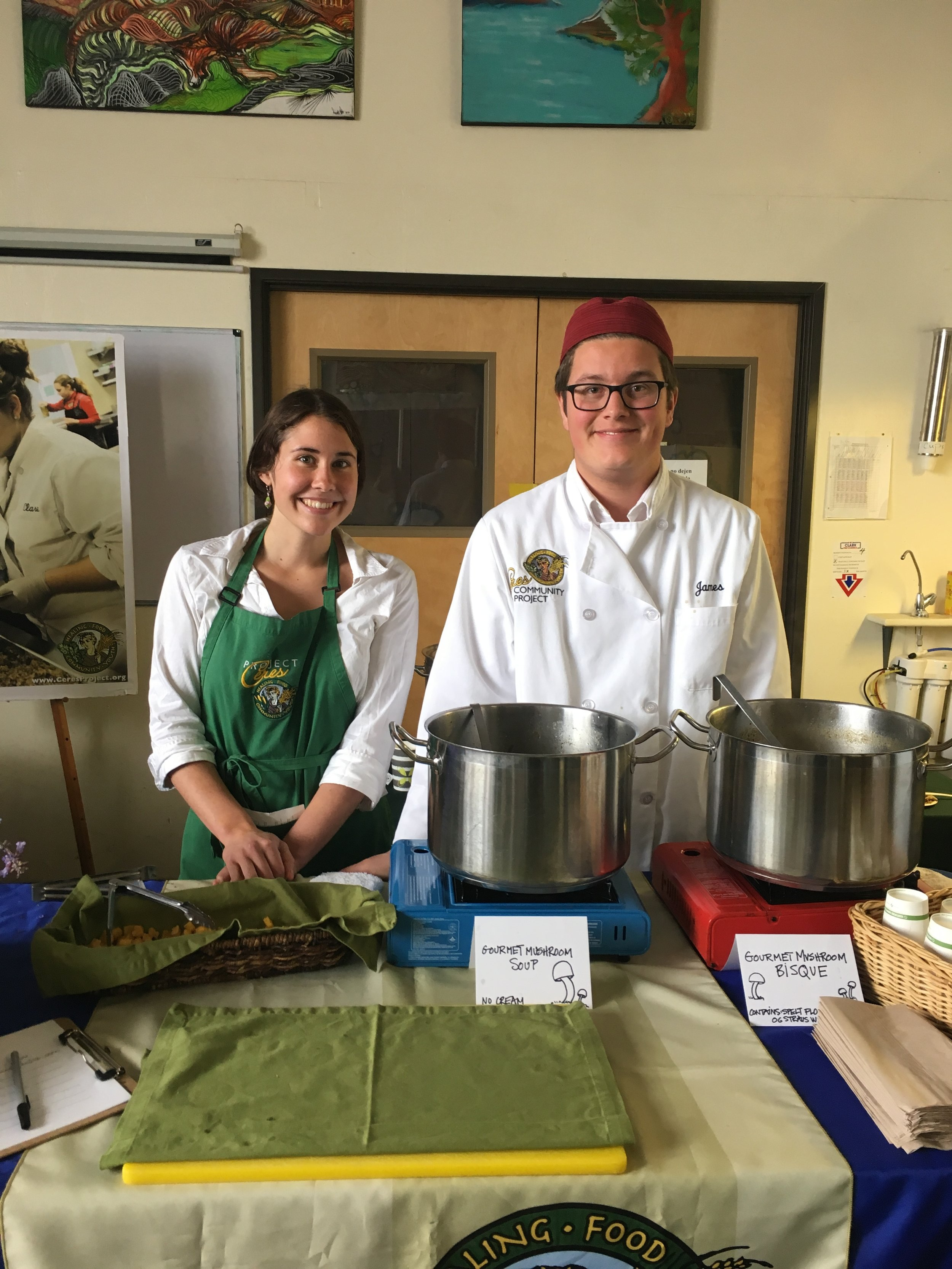 Ceres Community Project volunteers with a mushroom soup