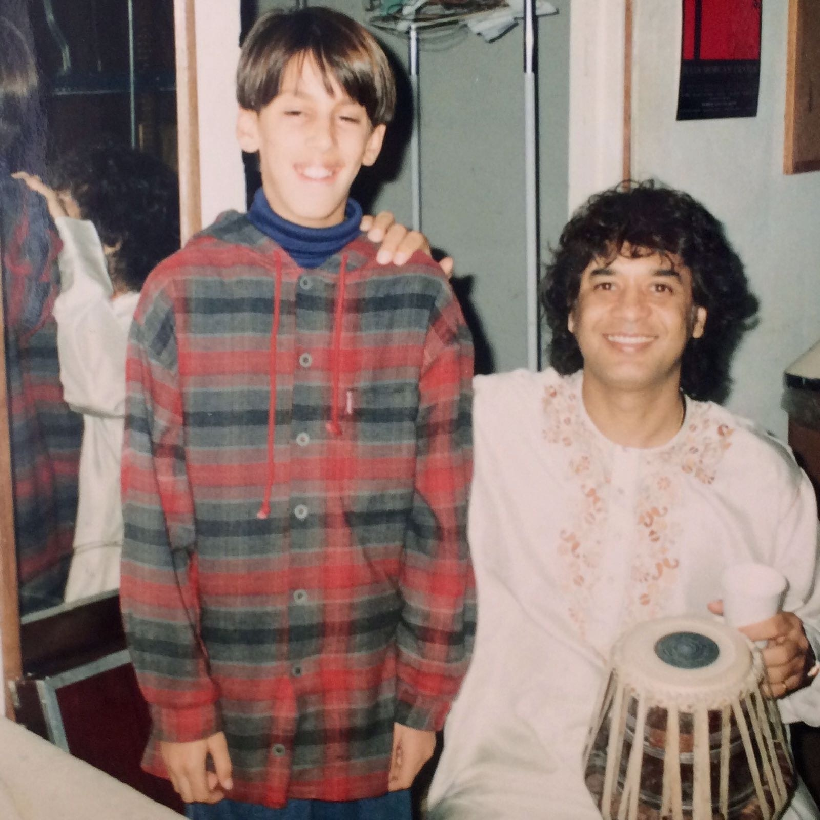 1994 - My Guru, Ustad Zakir Hussain and I backstage @Julia Morgan Theater Berkeley, CA