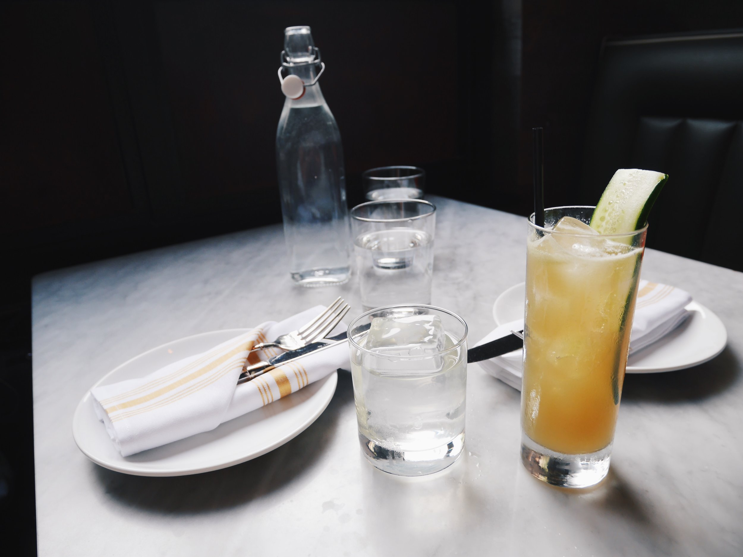 Left: Milk Punch of the Moment. Right: Sea Level Absinthe Cocktail at Waypoint.