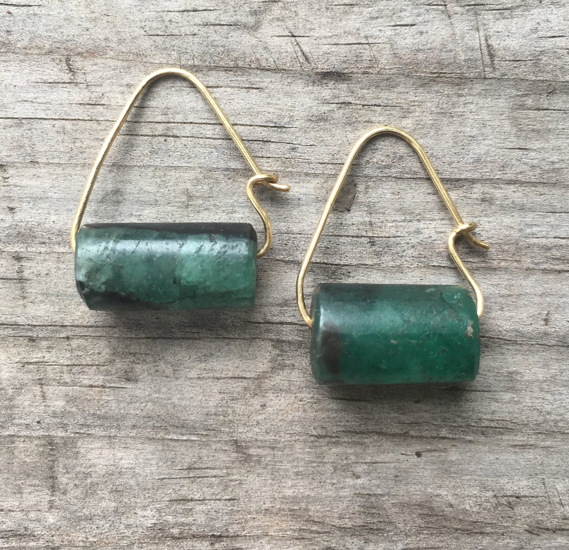 Raw Emerald, 18k yg earrings