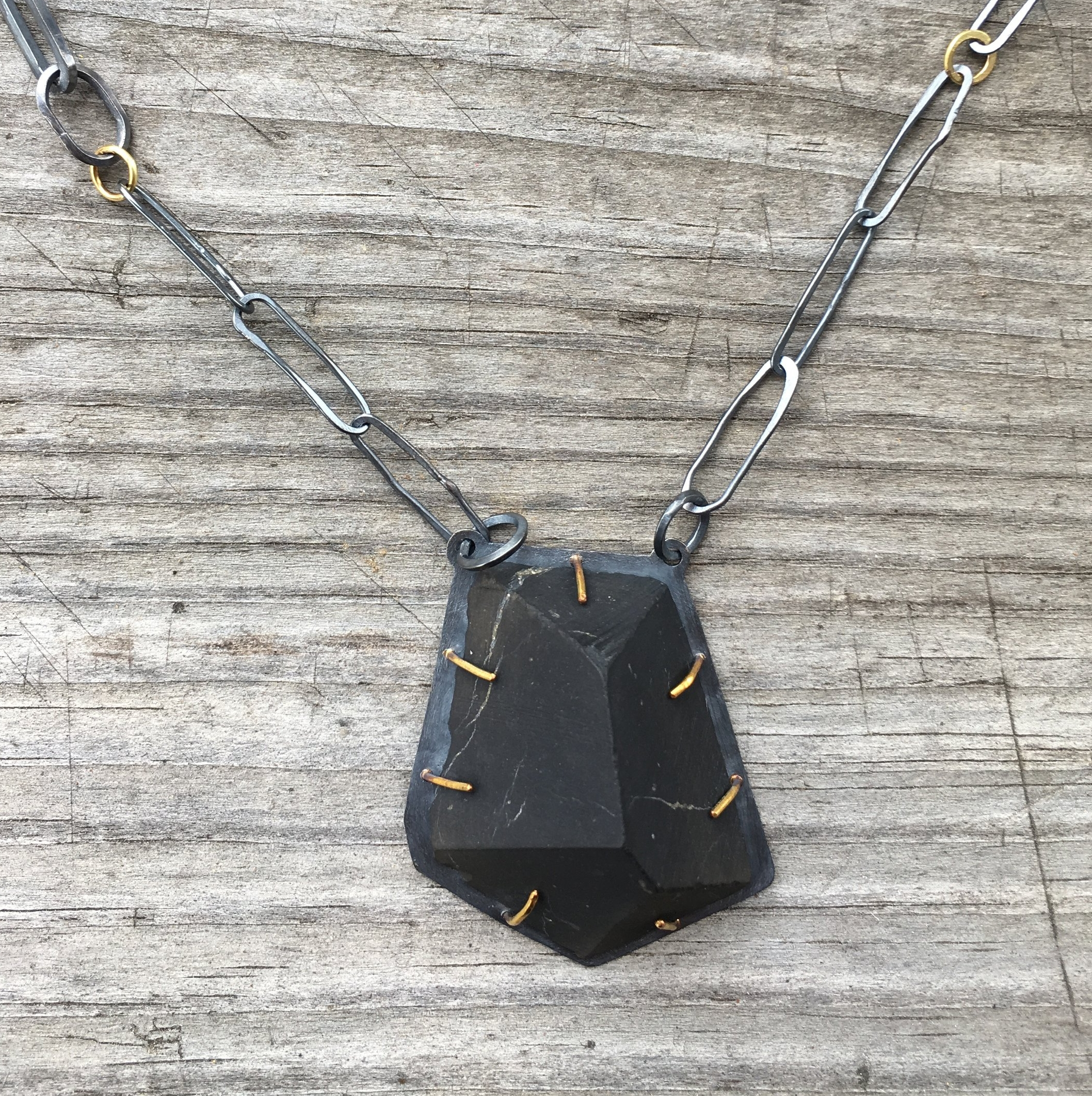Shungite, 18k yg, oxidized silver necklace detail