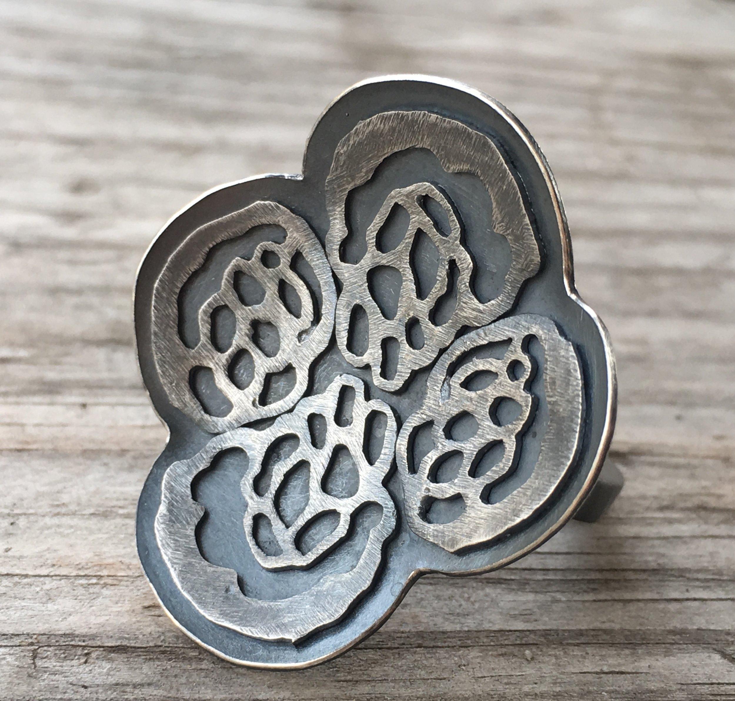 Paw print petal ring, oxidized silver