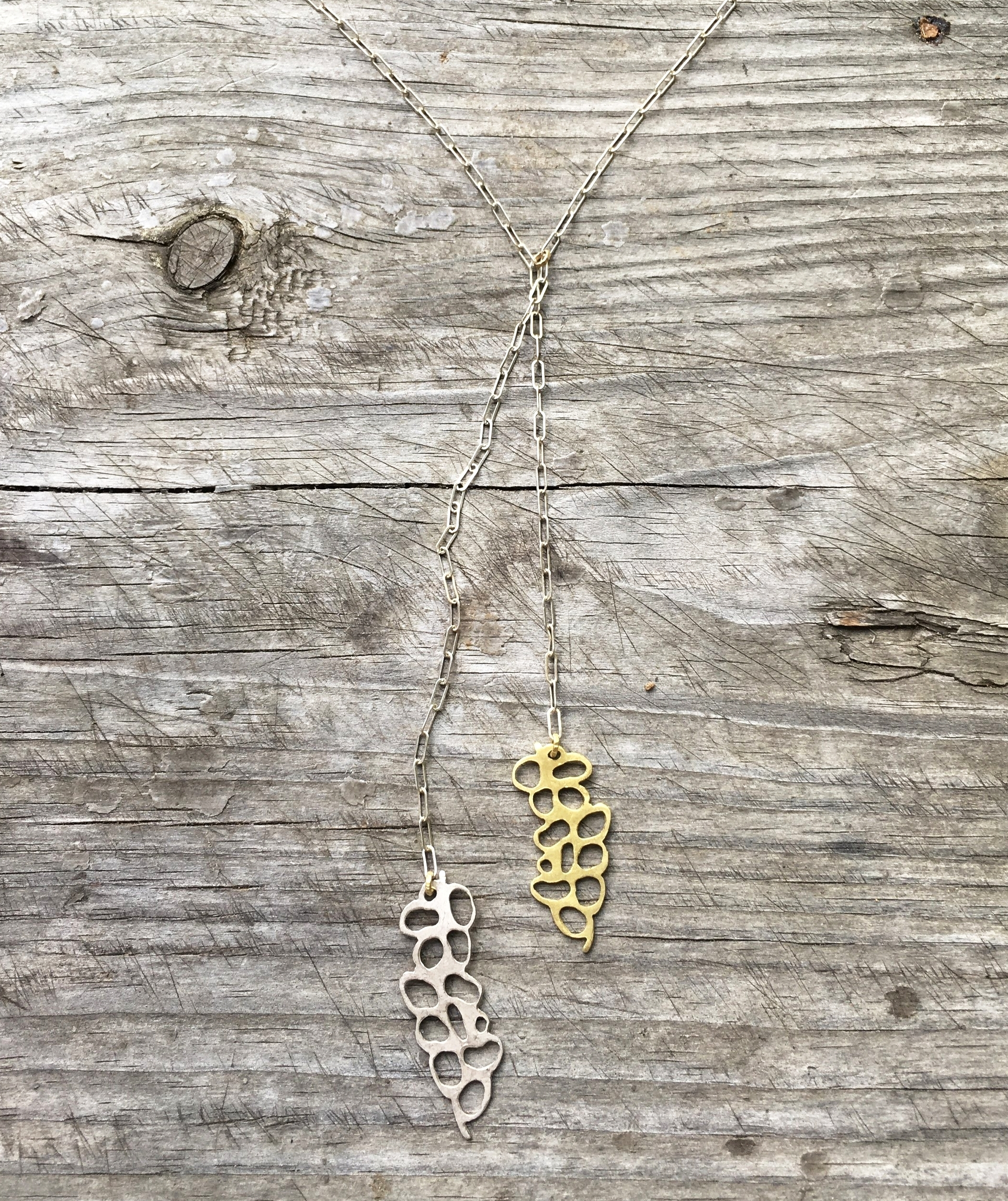 18k yg and silver necklace
