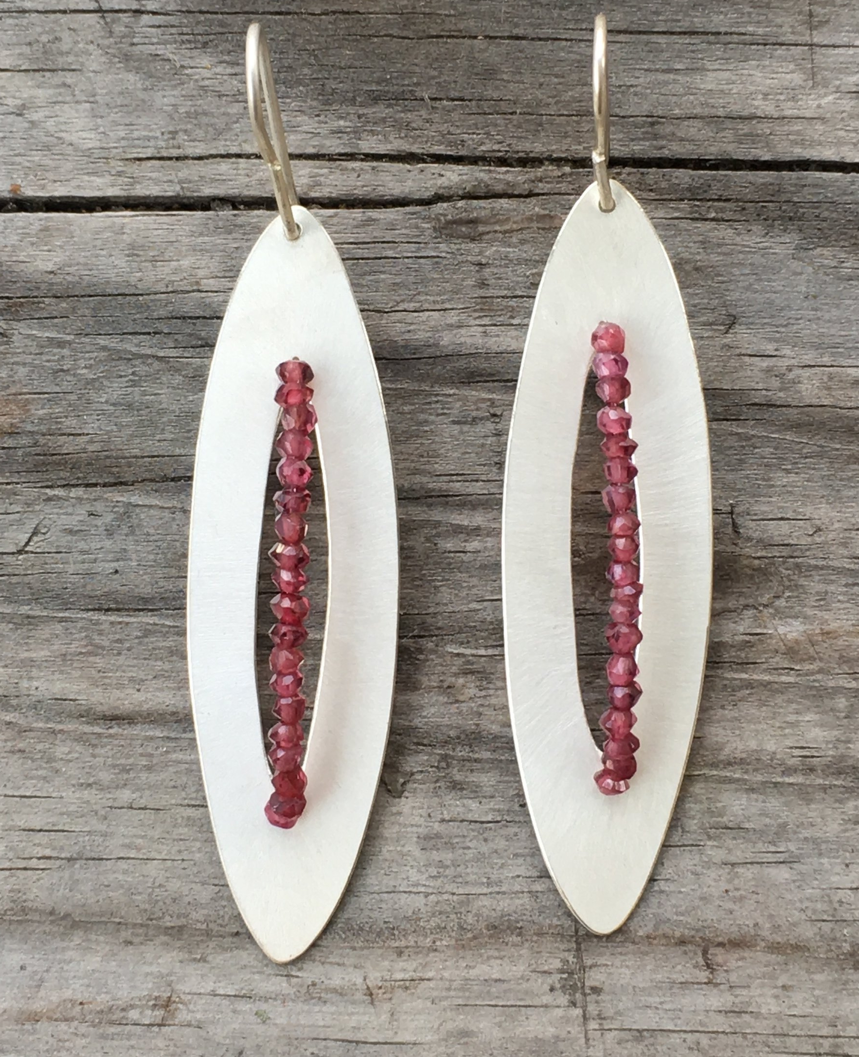 Garnets, silver earrings