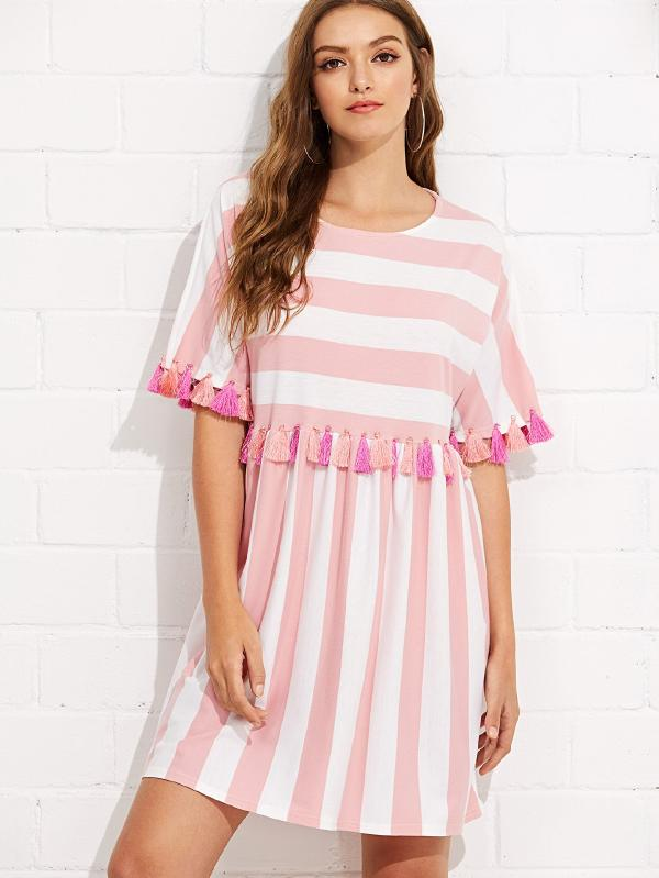 Fringe Trim Striped Dress