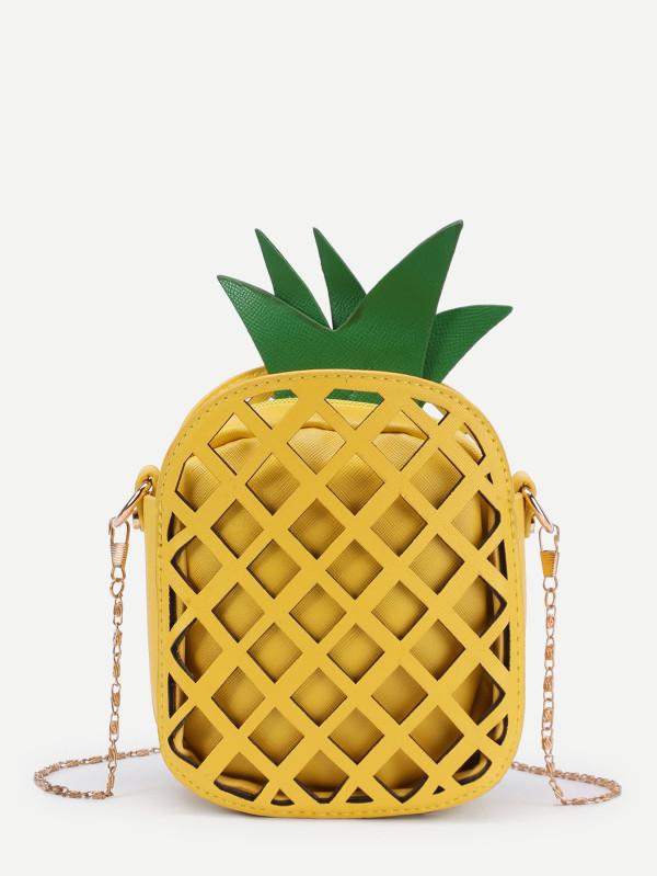 Pineapple Shaped PU Chain Crossbody Bag
