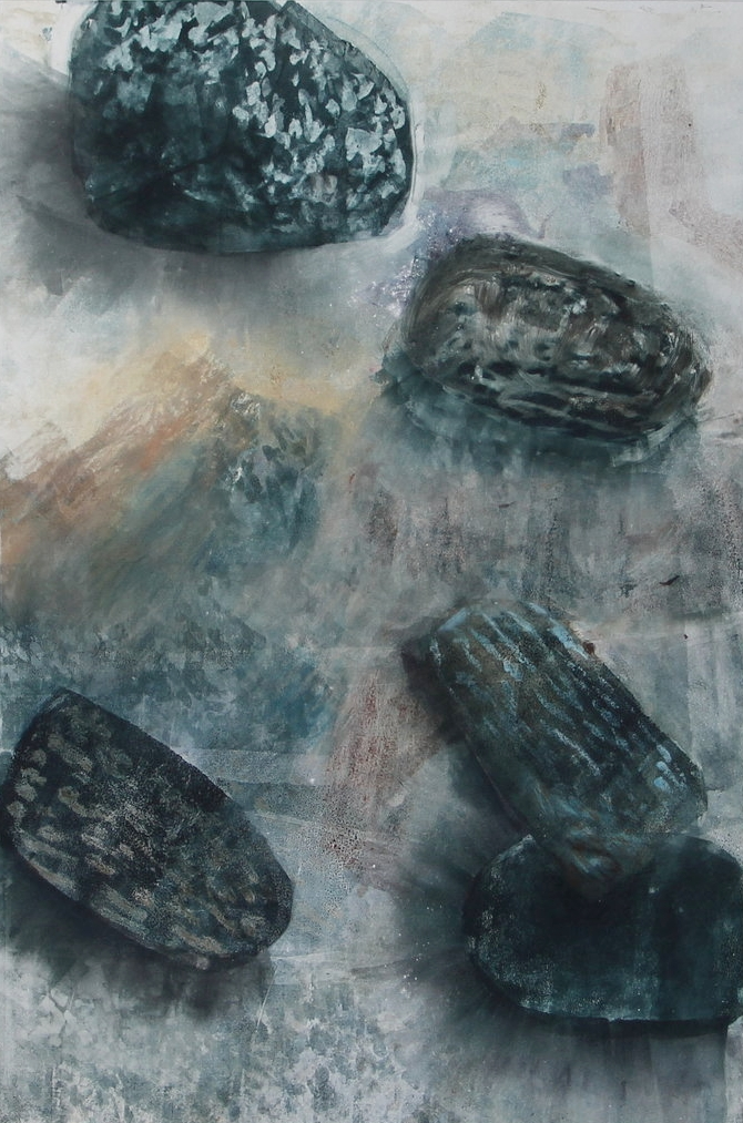 "Sand Shadows,  2016,monotype, 16"" x 24"""