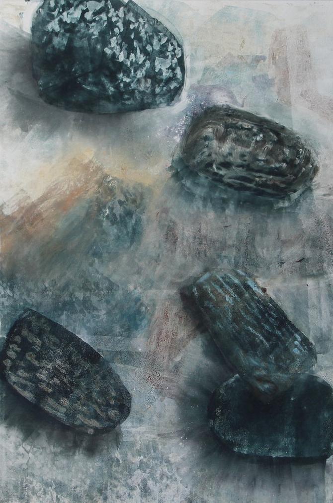 Sand Shadows, 2016, monotype, 16 x 24