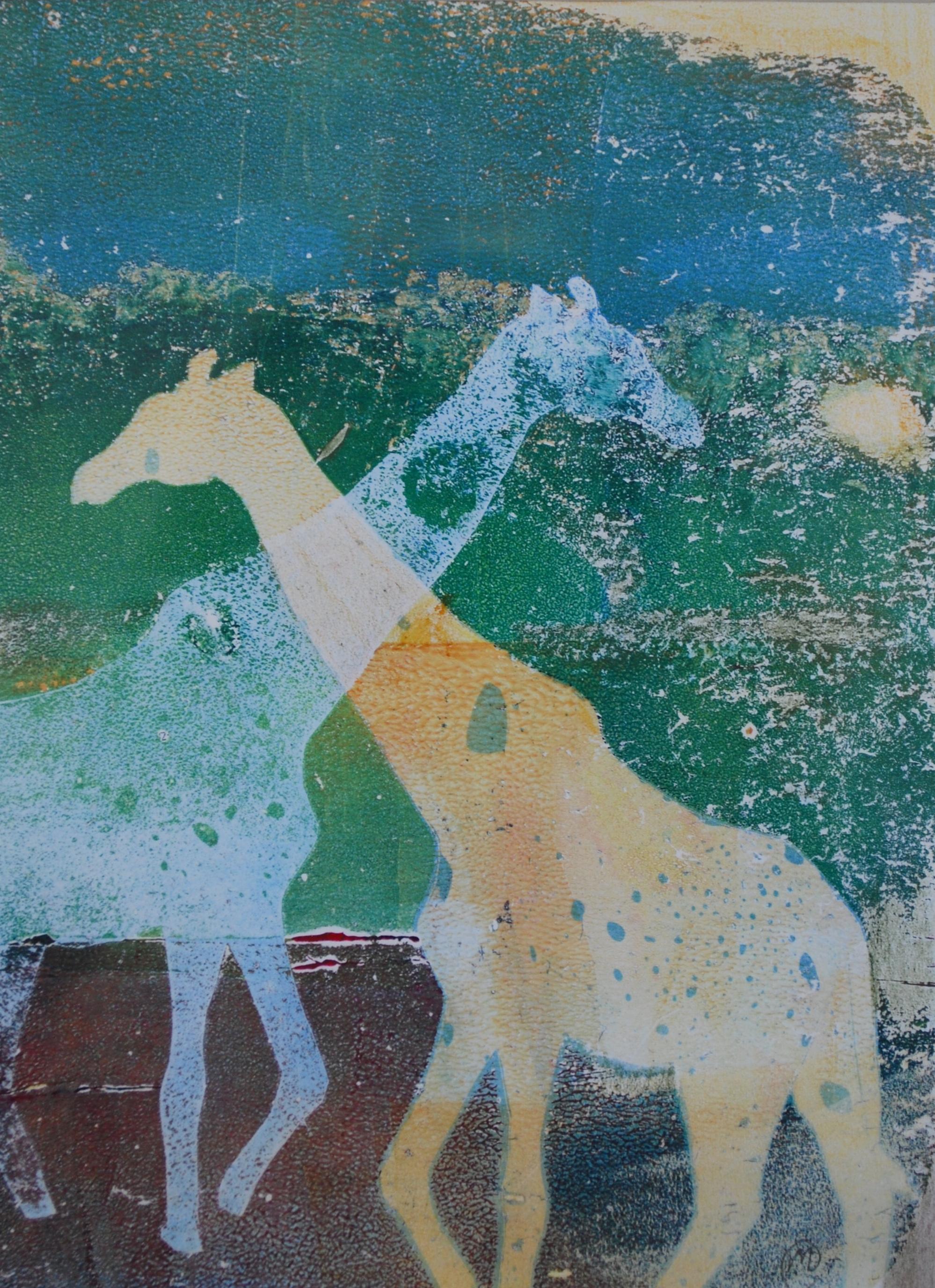 "Giraffes at Dusk , monotypes, 7"" x 9"", 2016"
