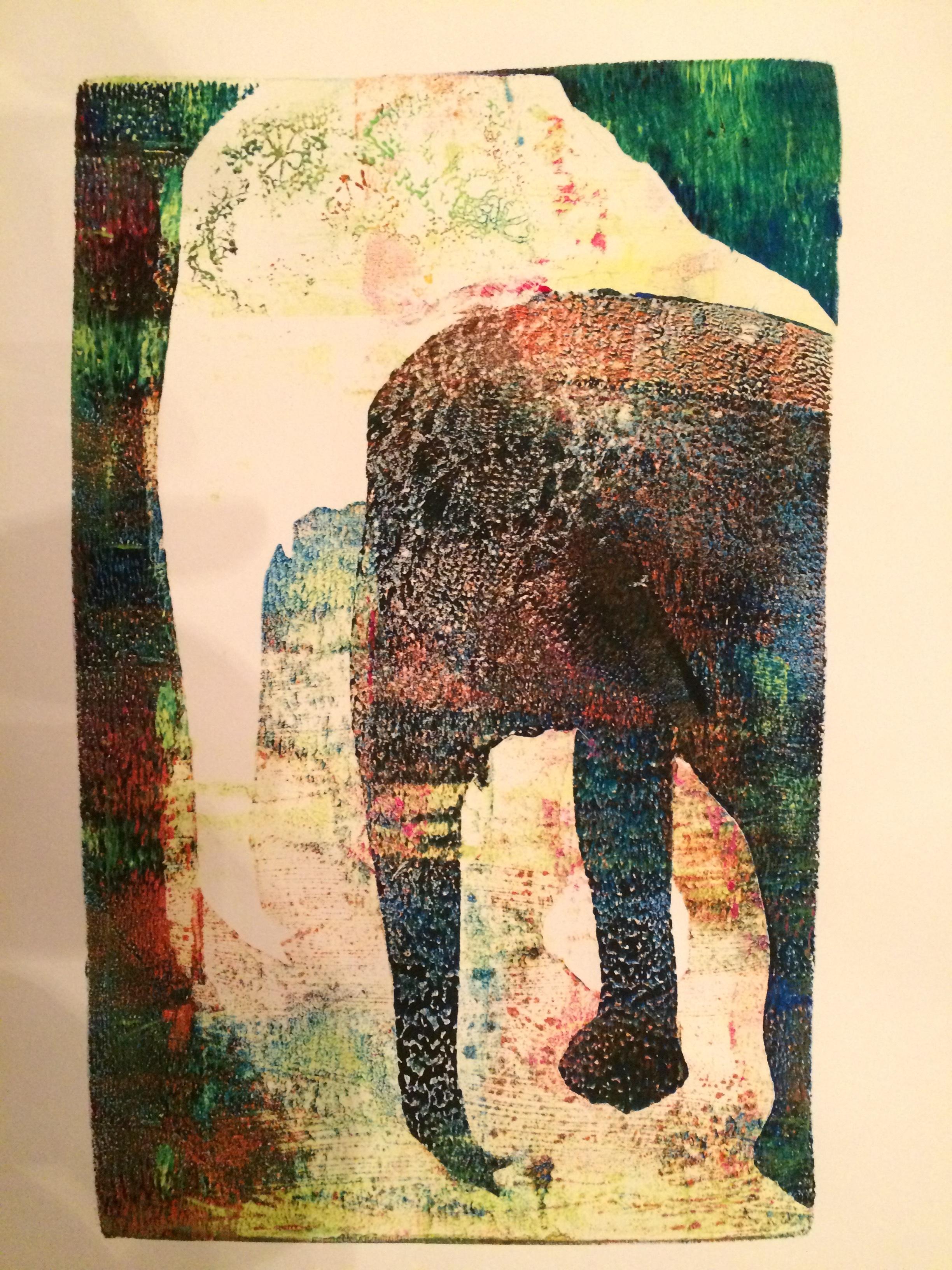 Elephant,  monotype, 6 x 9.5, 2015