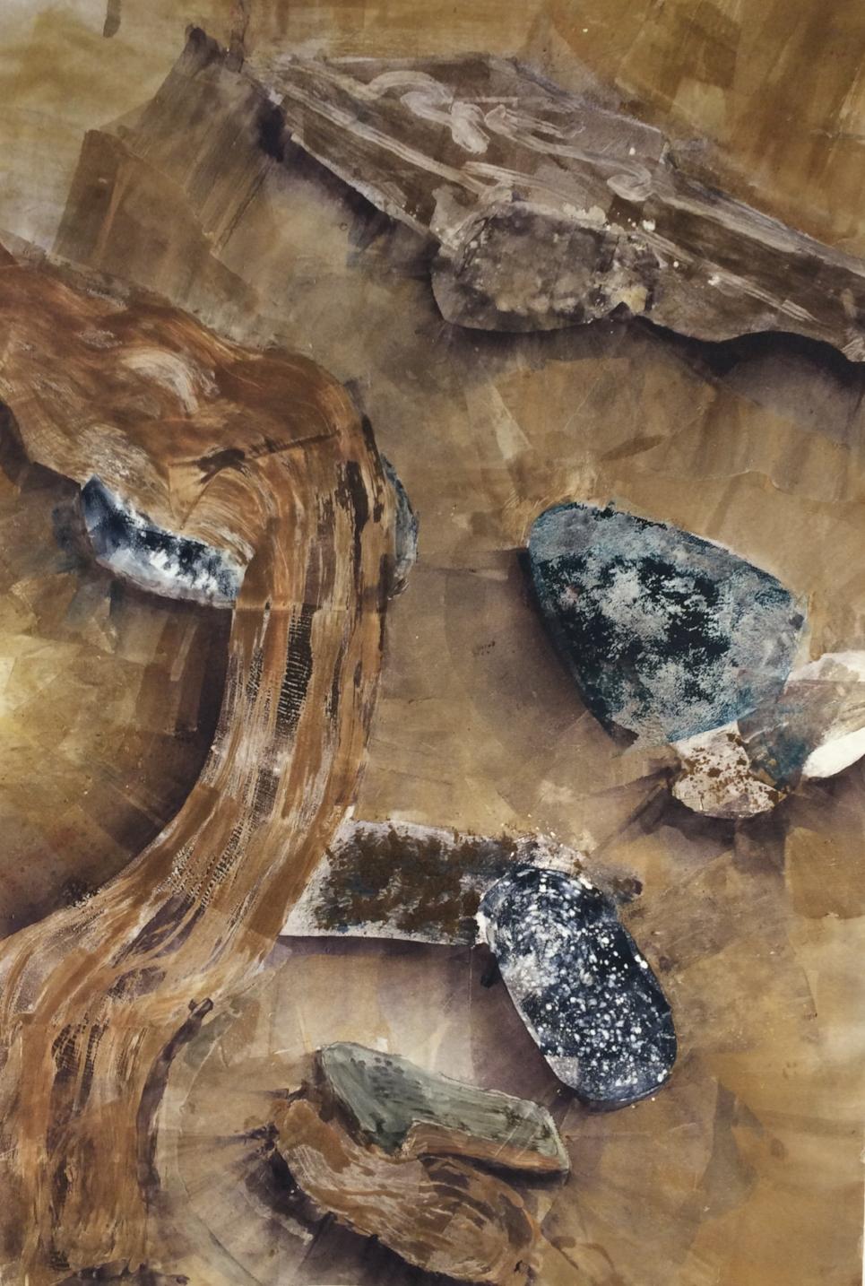 Driftwood with Rocks II,  monotype, 16 x24, 2016