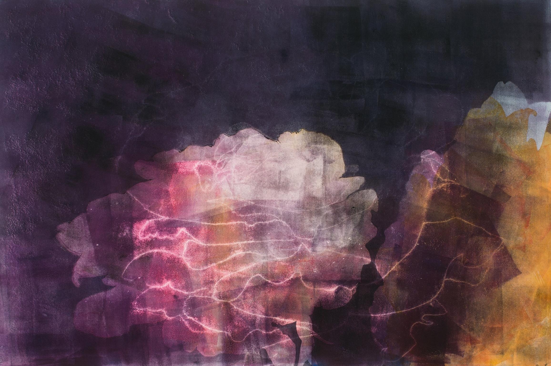 """Neon Rose,  2017, monotype, 22"""" x 30"""""""