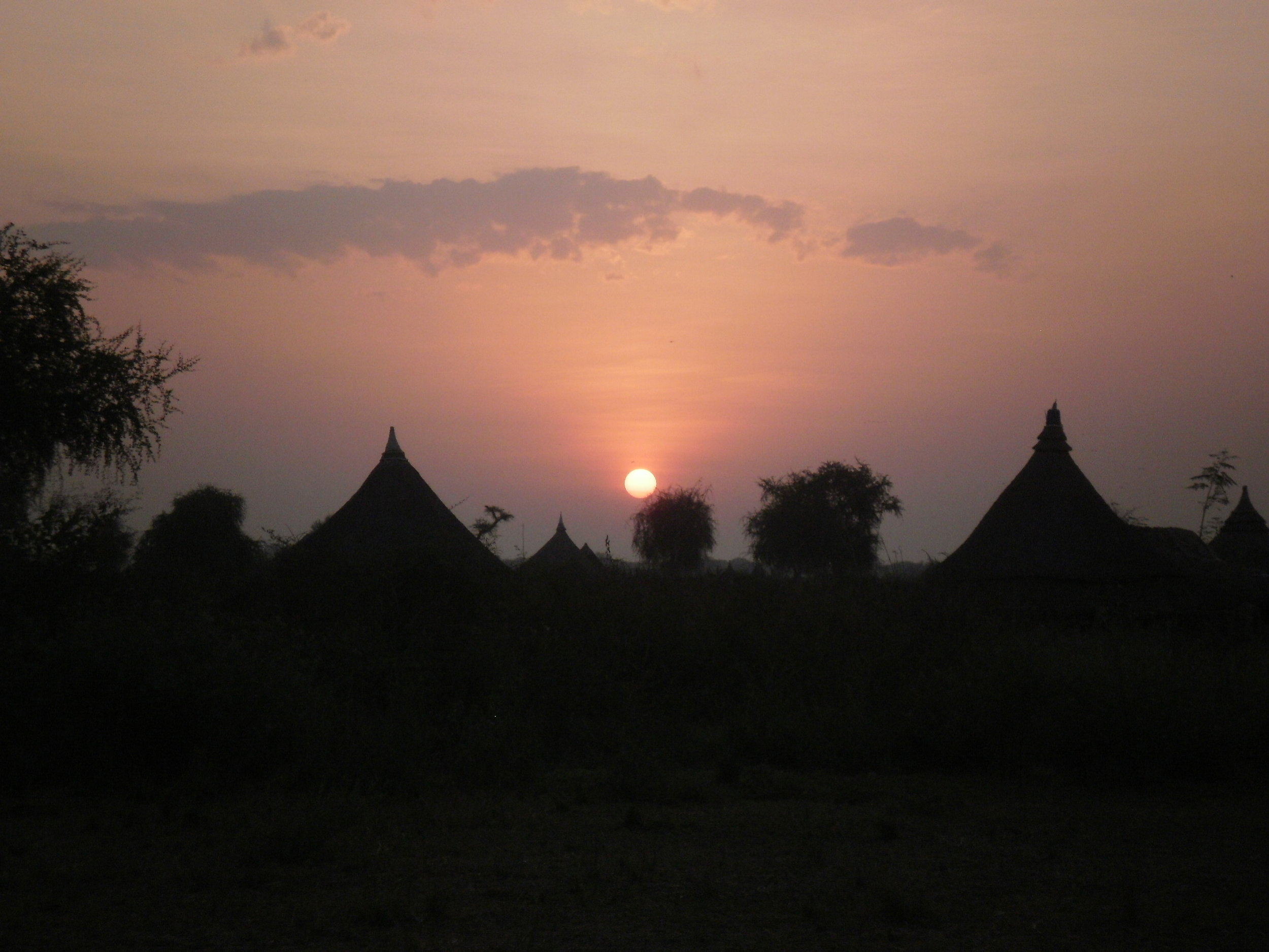 Sunset from the airstrip, Lankien, South Sudan.