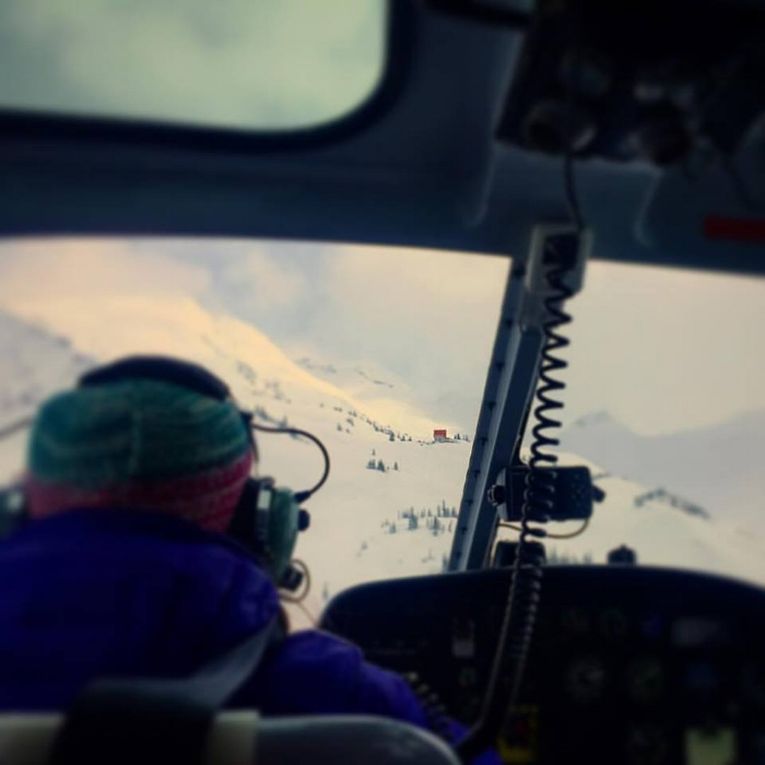En route to the Selkirk Lodge via helicopter, April 2017. Photo by Claire Smallwood.