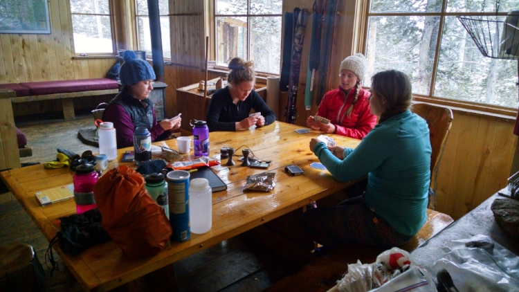 Waiting games at the Benedict Hut near Aspen, CO, January 2015.