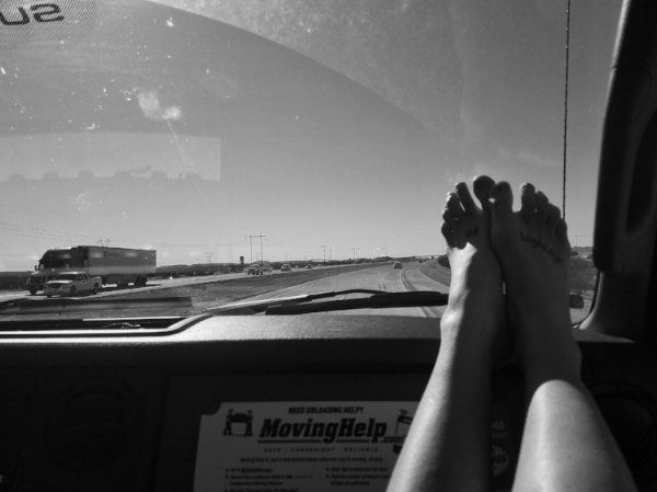 Feet on the dashboard, full road trip mode. Somewhere in Arizona, March 2018.