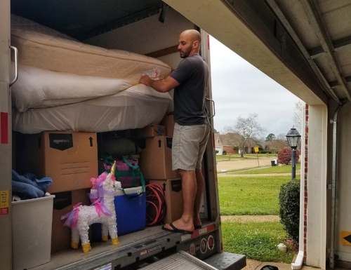 Securing the final mattresses and unicorns for the move, late February 2018.