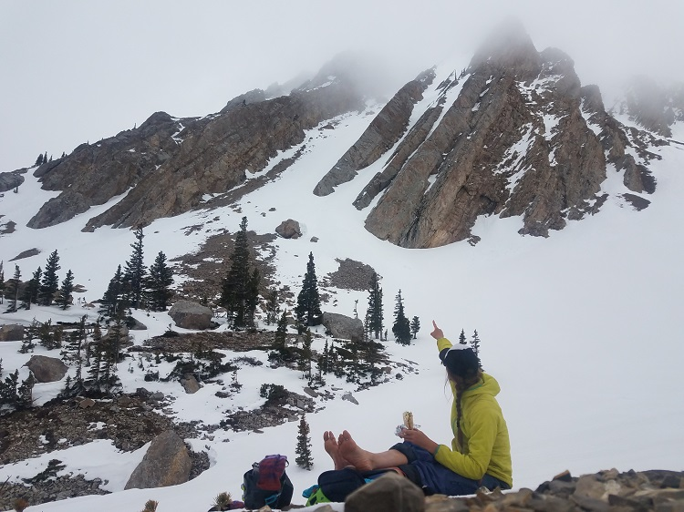B considers objectives for another day as we get skunked on Sacajawea Peak in the Bridger Range of Montana.