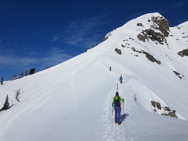 On the final push to the summit of Albright Peak in Grand Teton National Park, en route northwest.