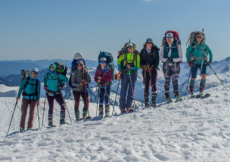 A good portion of the SheJumps Baker Climb + Ski '19 Team on Day 1. Photo by Katherine Jondro (@katherinejondro)