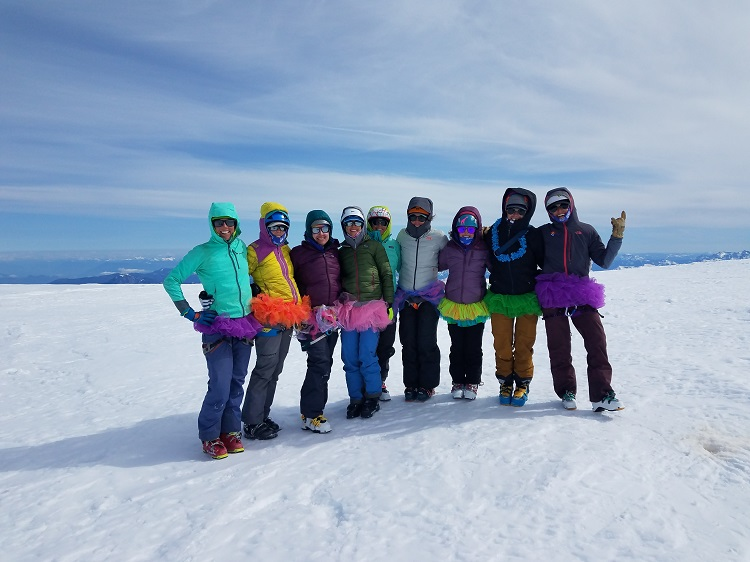 SheJumps Baker Climb + Ski 2019 Team (minus our illustrious guides) at the summit.