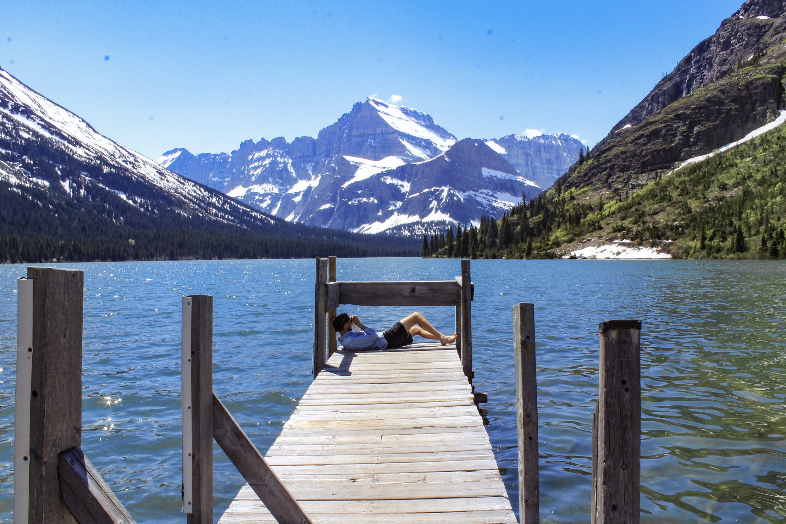 Relaxing on the boat dock at Lake Josephine in the Many Glacier region