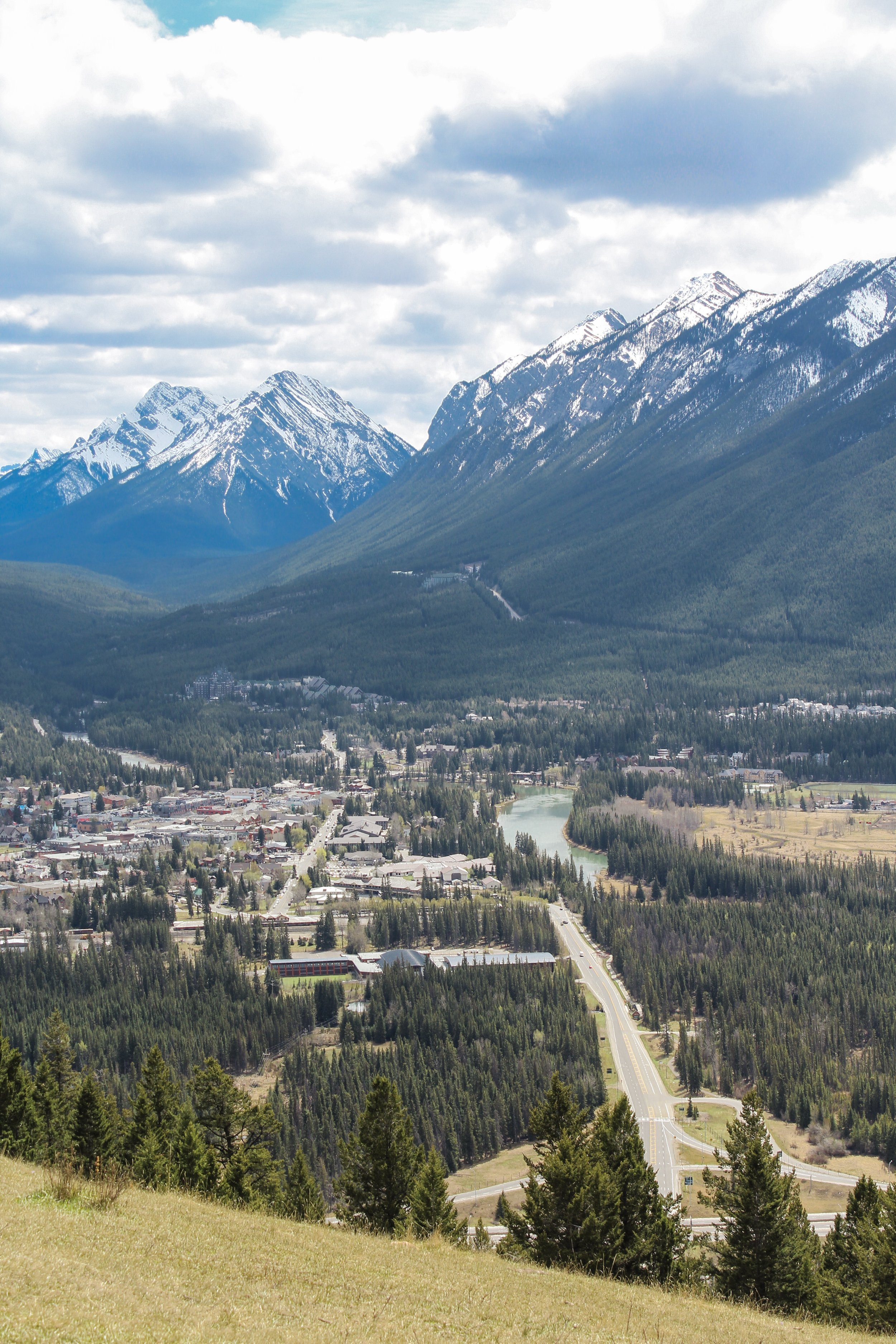 Banff town and the Bow River from the Mount Norquay viewpoint