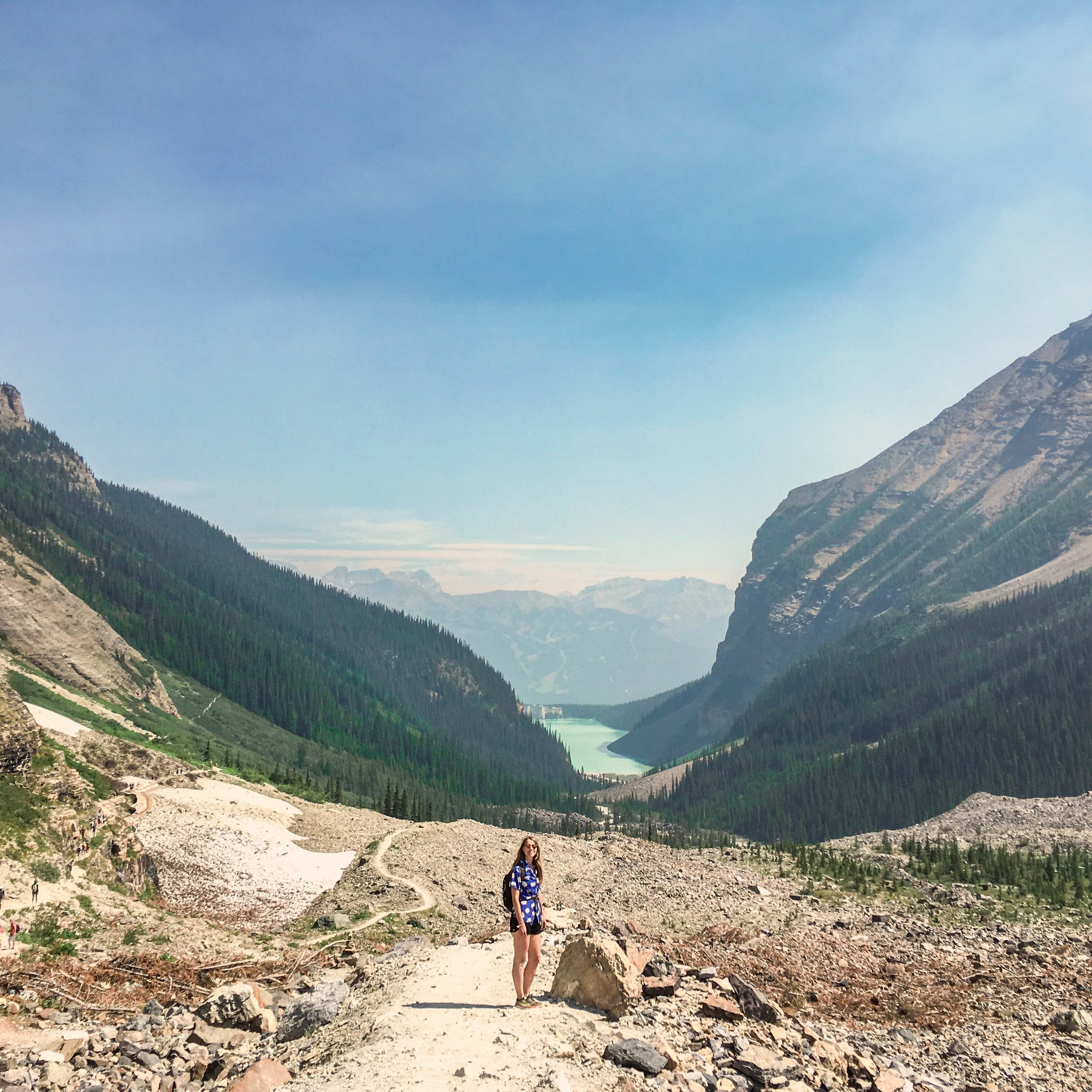 Look back on Lake Louise as you hike through the glacial-carved valleys of the past