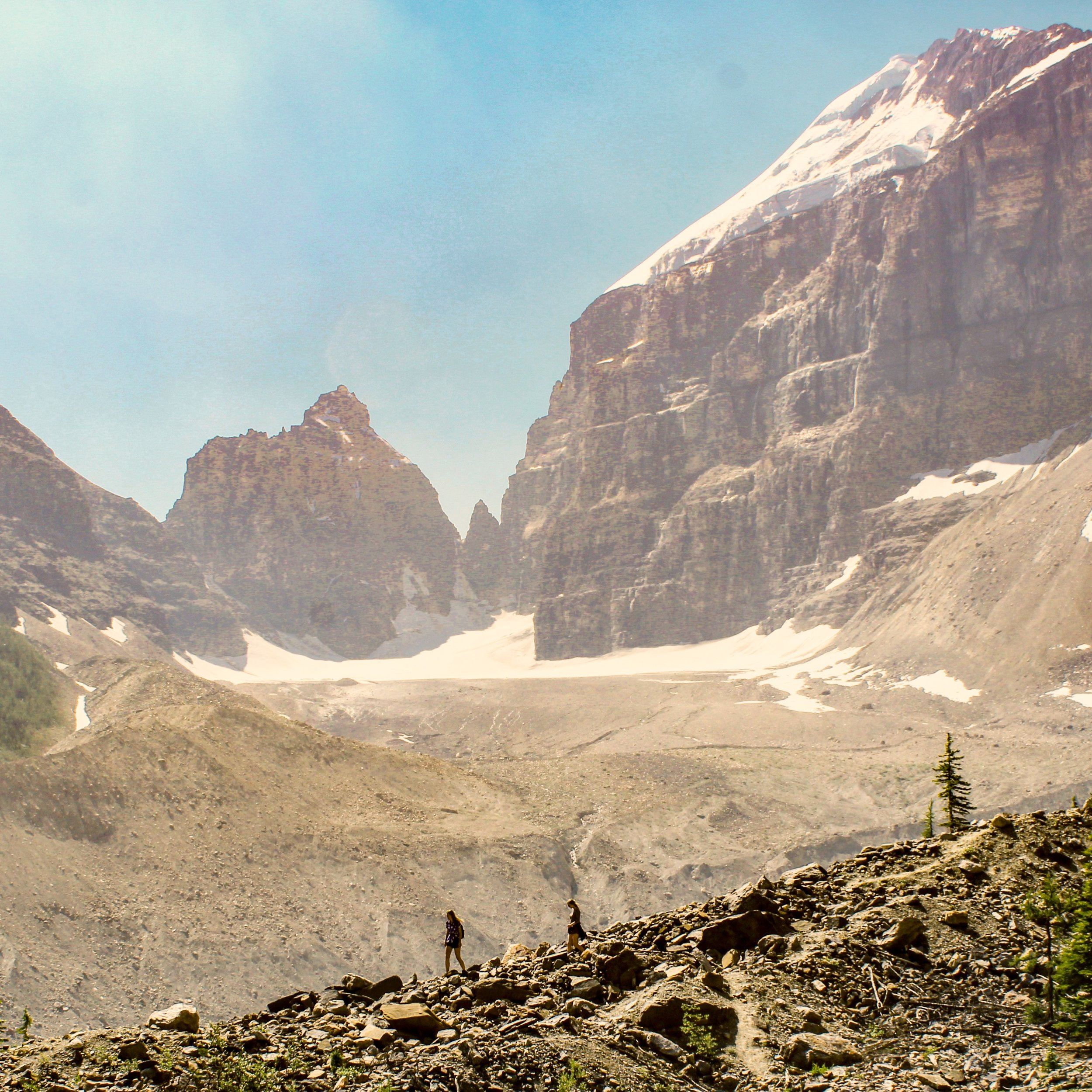 Hiking along the ridges below the epic mountains and glaciers of the Canadian Rockies
