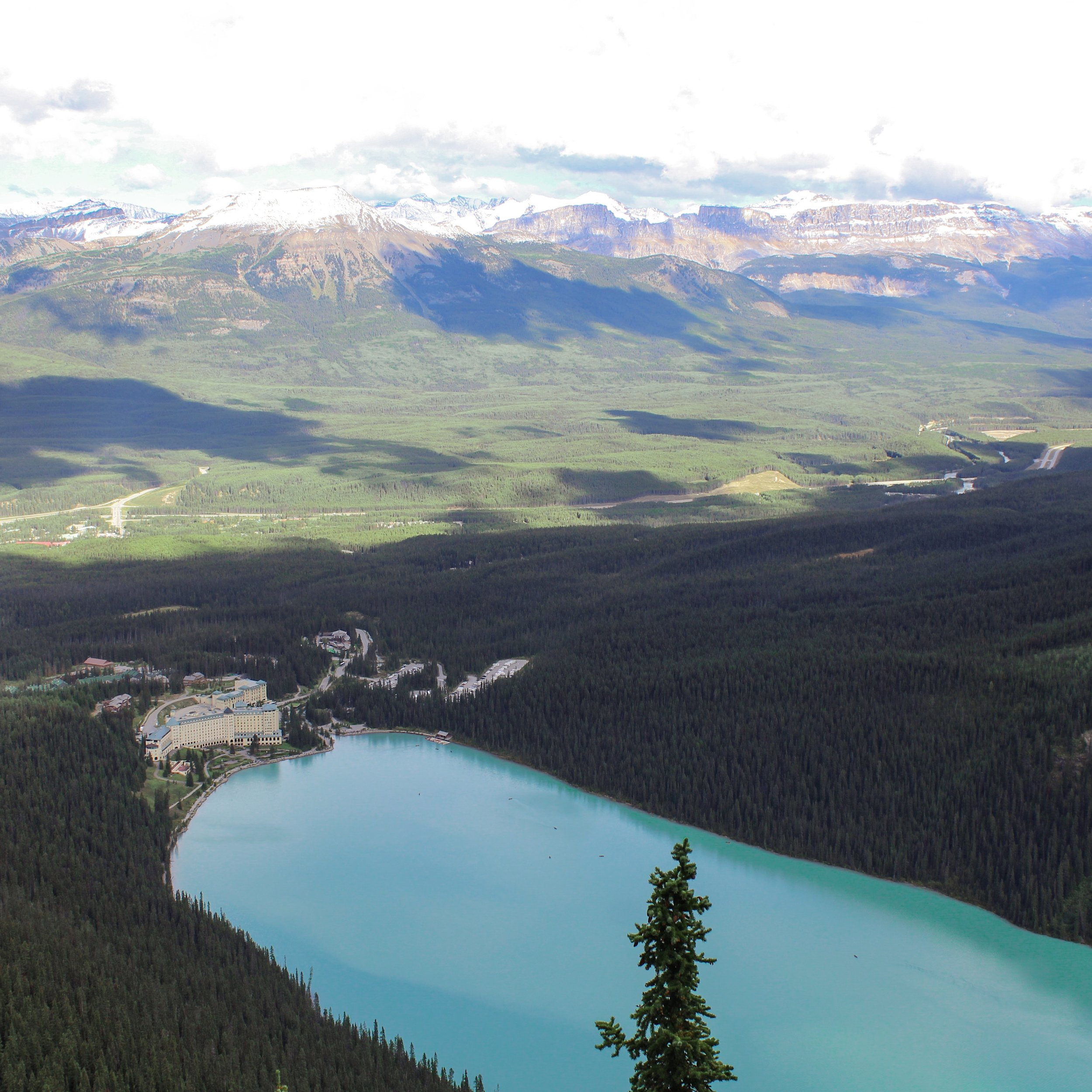 The view down onto Lake Louise from the top of Big Beehive