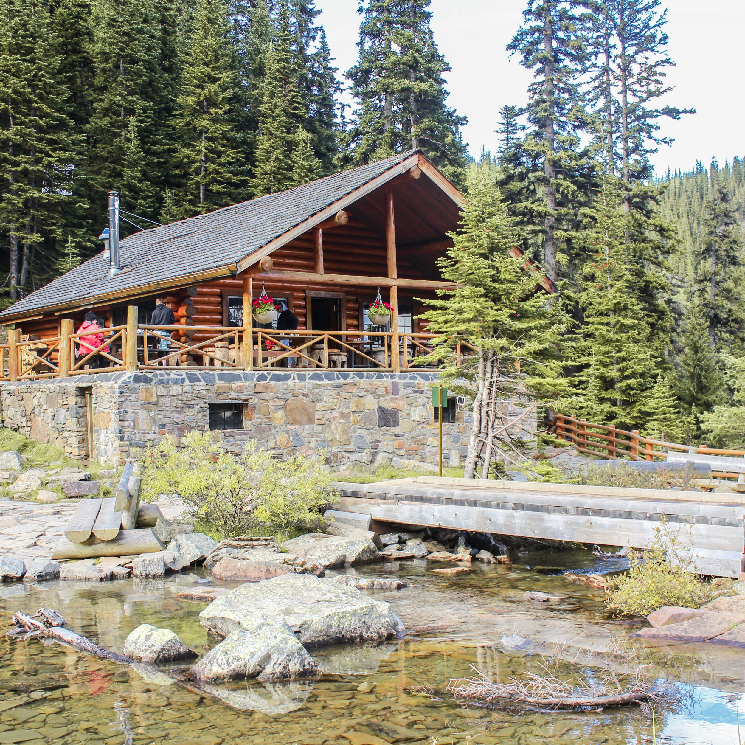 The idyllic Swiss-style log cabin that is Lake Agnes teahouse