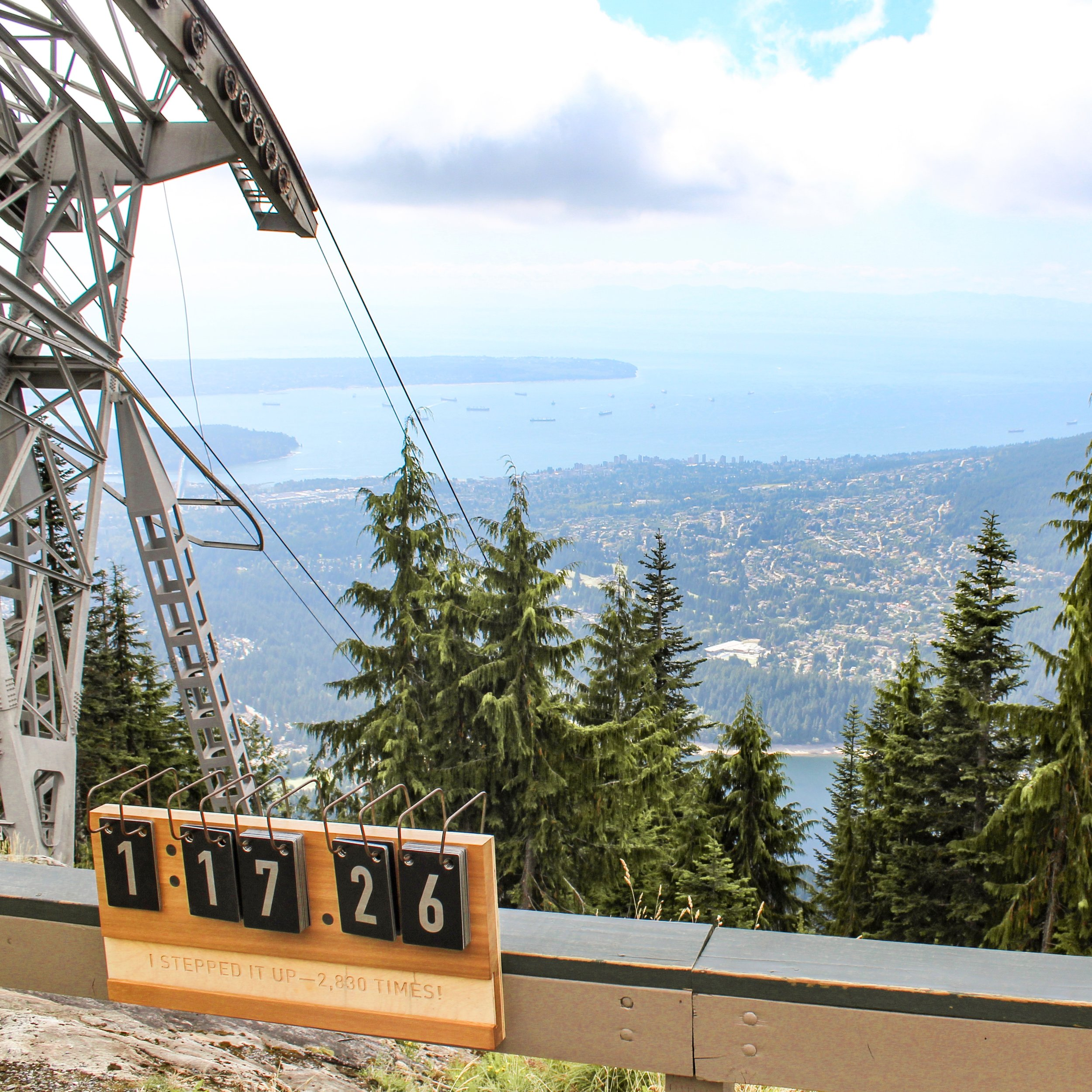 Panoramic views of Vancouver city from the Grouse Mountain summit