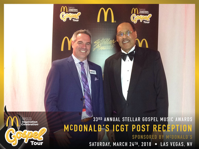 Jon Hawker (twineIT CEO) and Don Jackson (Central City Productions CEO) at the Stellar Awards McDonald's Inspiration Celebration Gospel Tour Post Reception