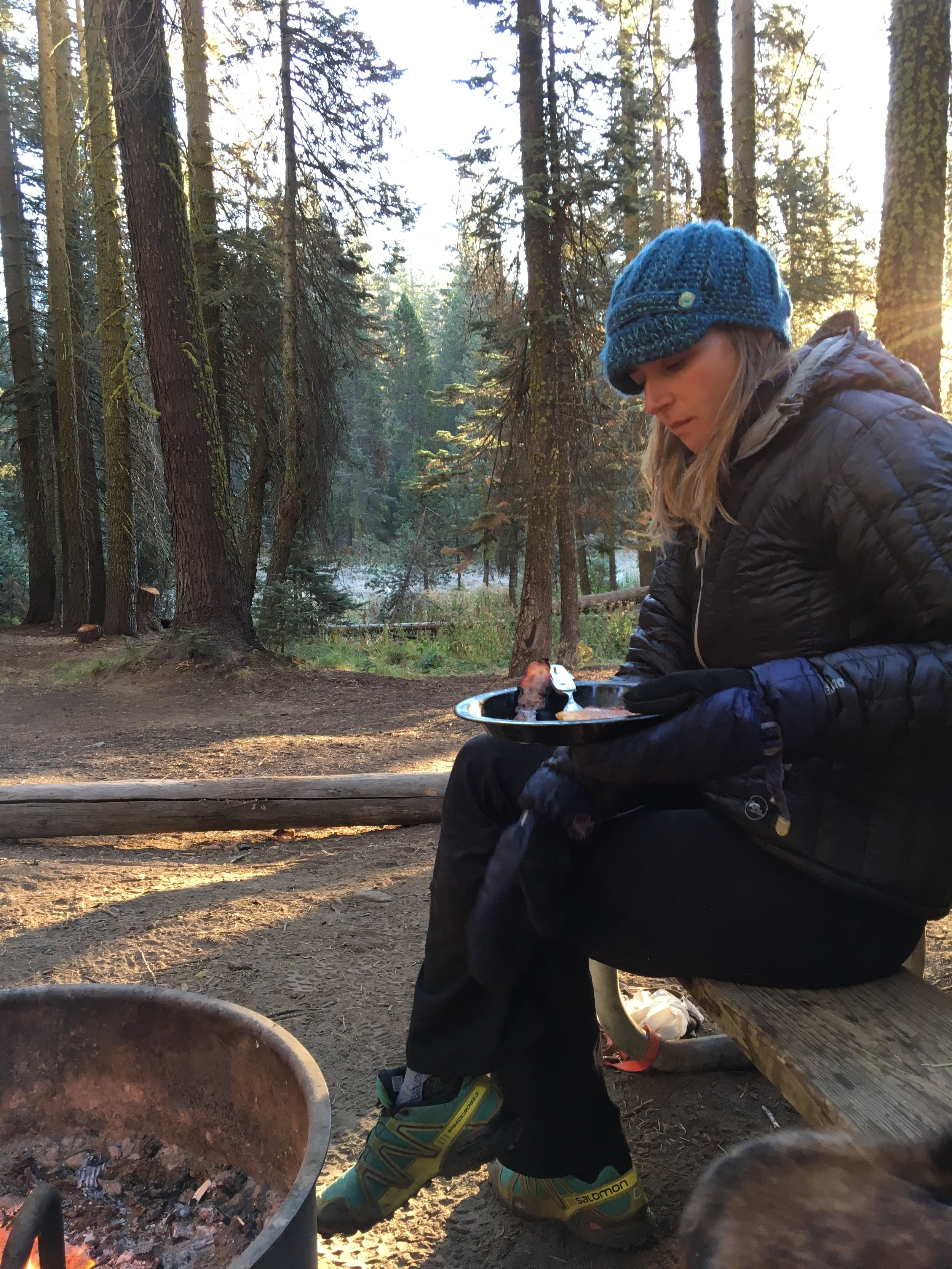 First night camping in Yosemite. It.Was.Freezing (hence the giant mittens)