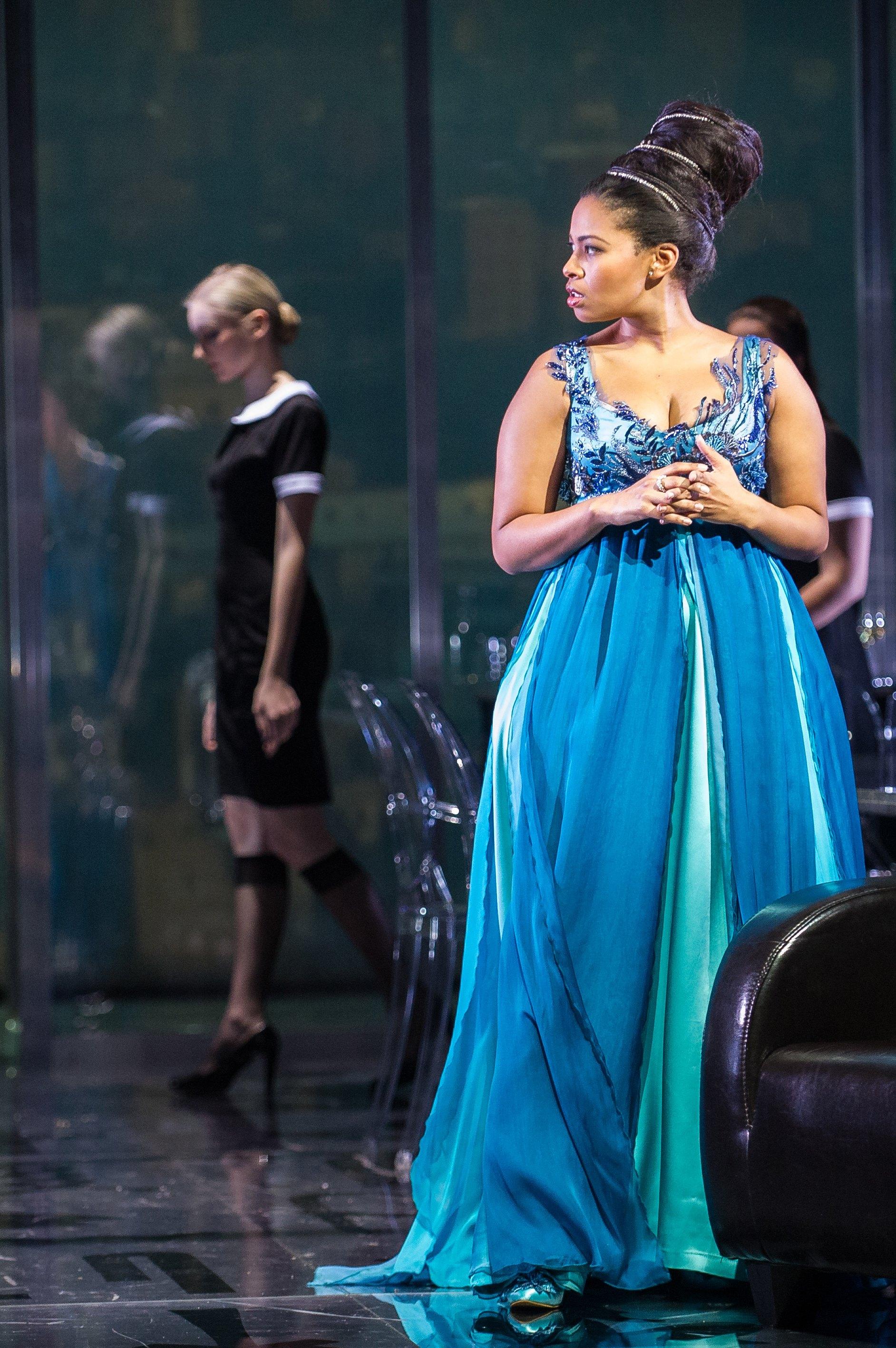 Cleopatra in  Guilio Cesare  at Stadttheater Klagenfurt, February 2014. Photo by Karlheinz Fessl.