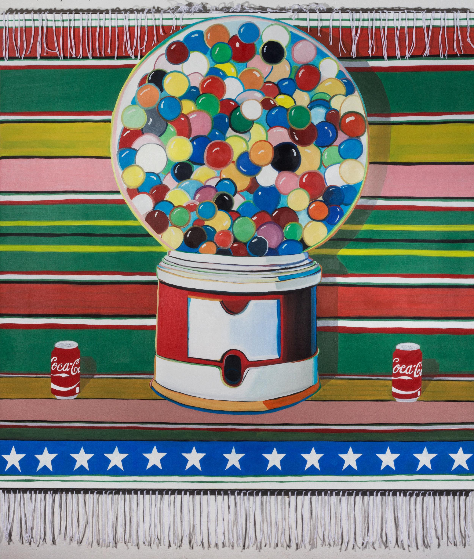 Border Pop   oil on canvas, yarn