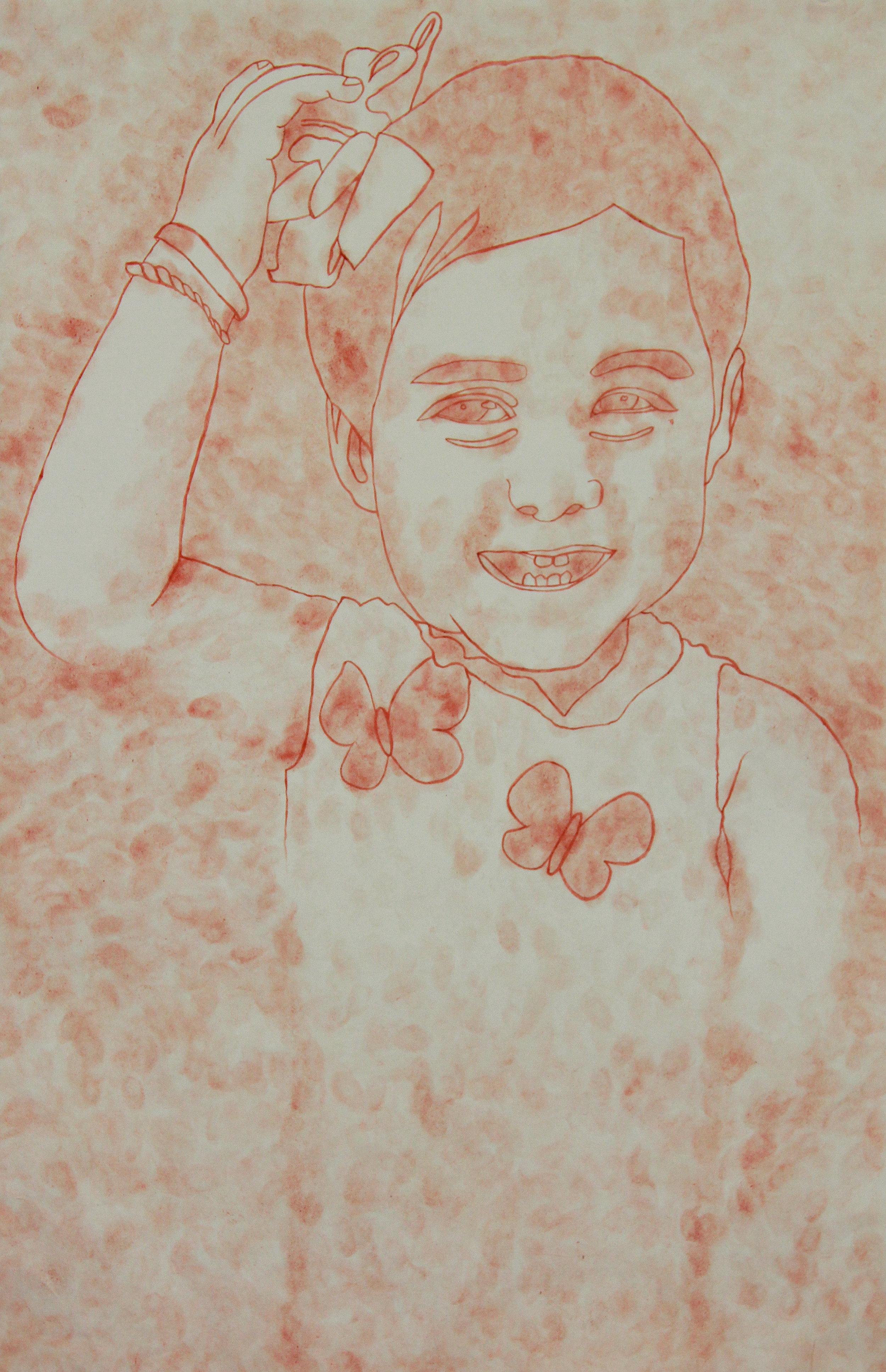 Chucherías de niñez   Flamin' Hot Cheetos dust and lime juice on paper