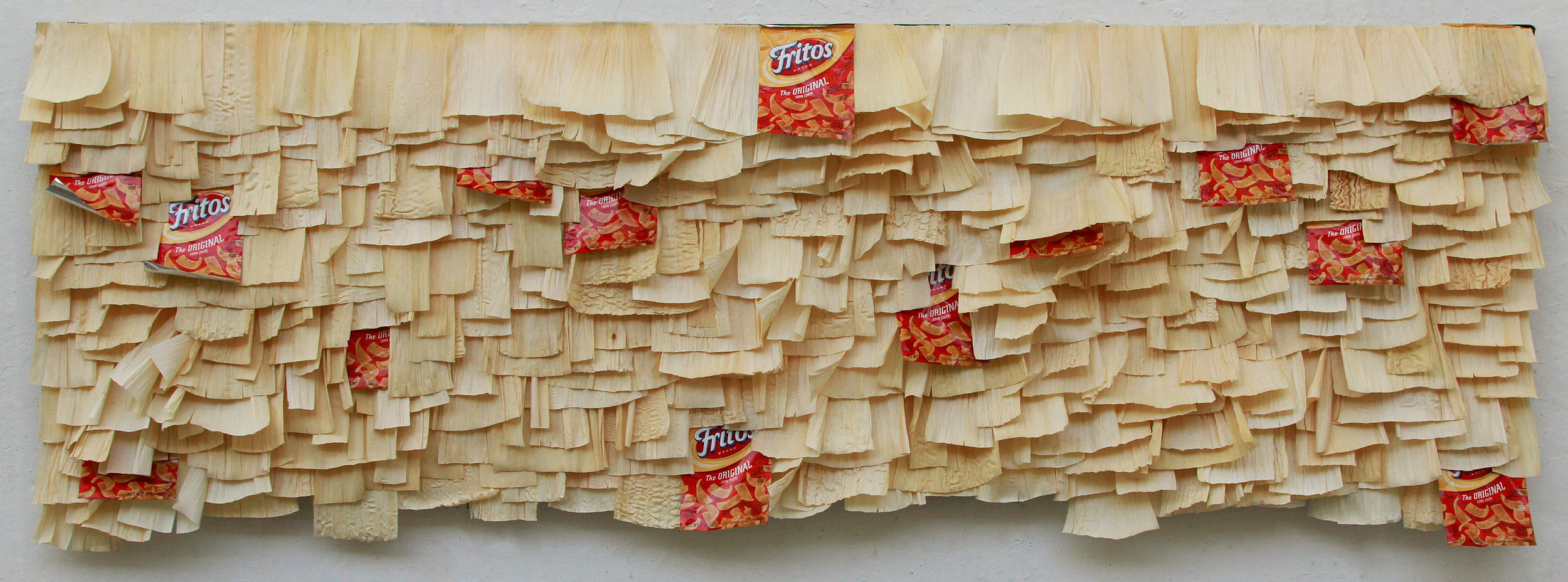 Cambios naturales   Fritos bags and corn husks on acrylic on canvas