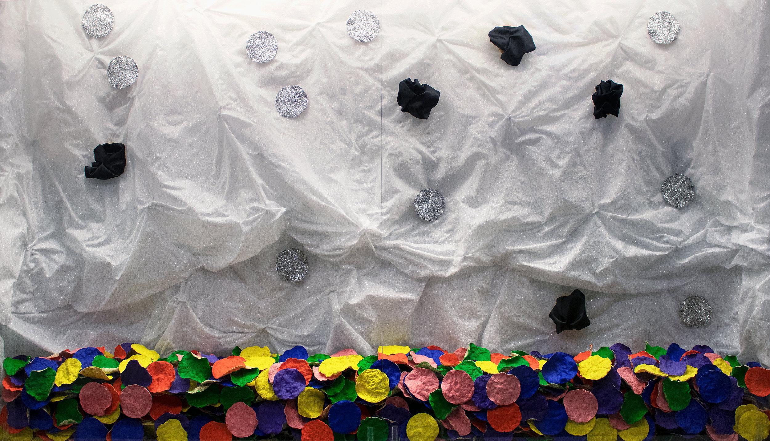 De luz y de color   installation: acrylic on corn tortillas, glitter and charmeuse on corn tortillas on glitter on charmeuse