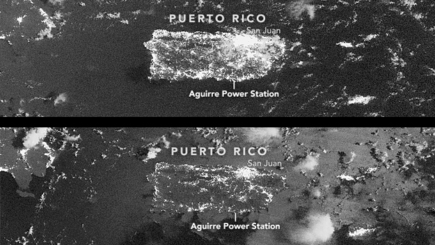 A NASA satellite captured what Puerto Rico looked like before and after the power outage. (Source: NASA)
