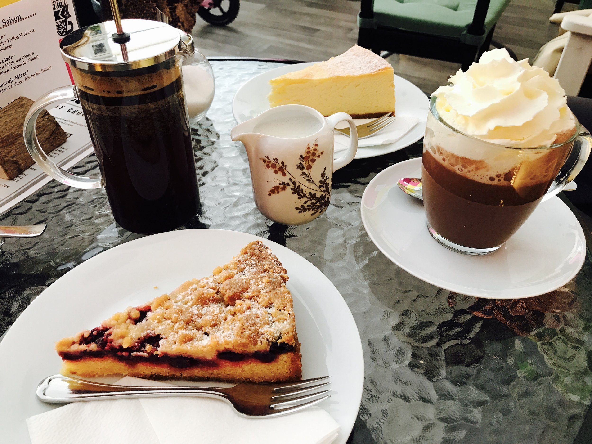 Zur Mieze is known for its award-wining cheesecake and specialty coffee served French Press style
