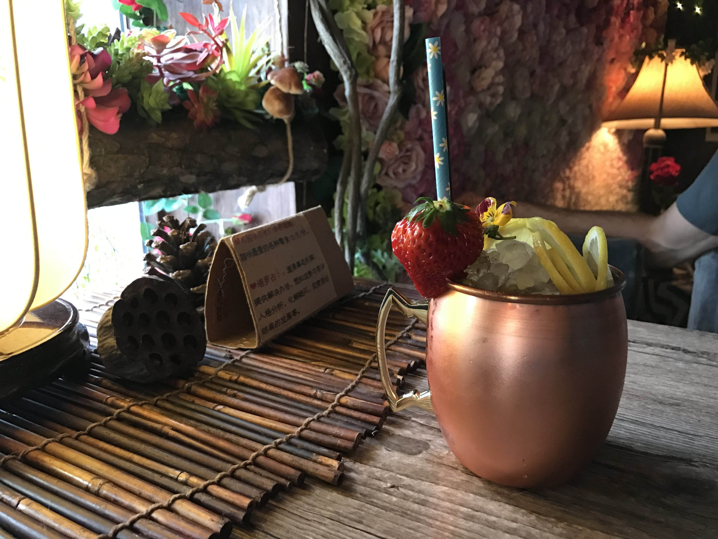 This beautiful cat cafe and bar serves upscale drinks