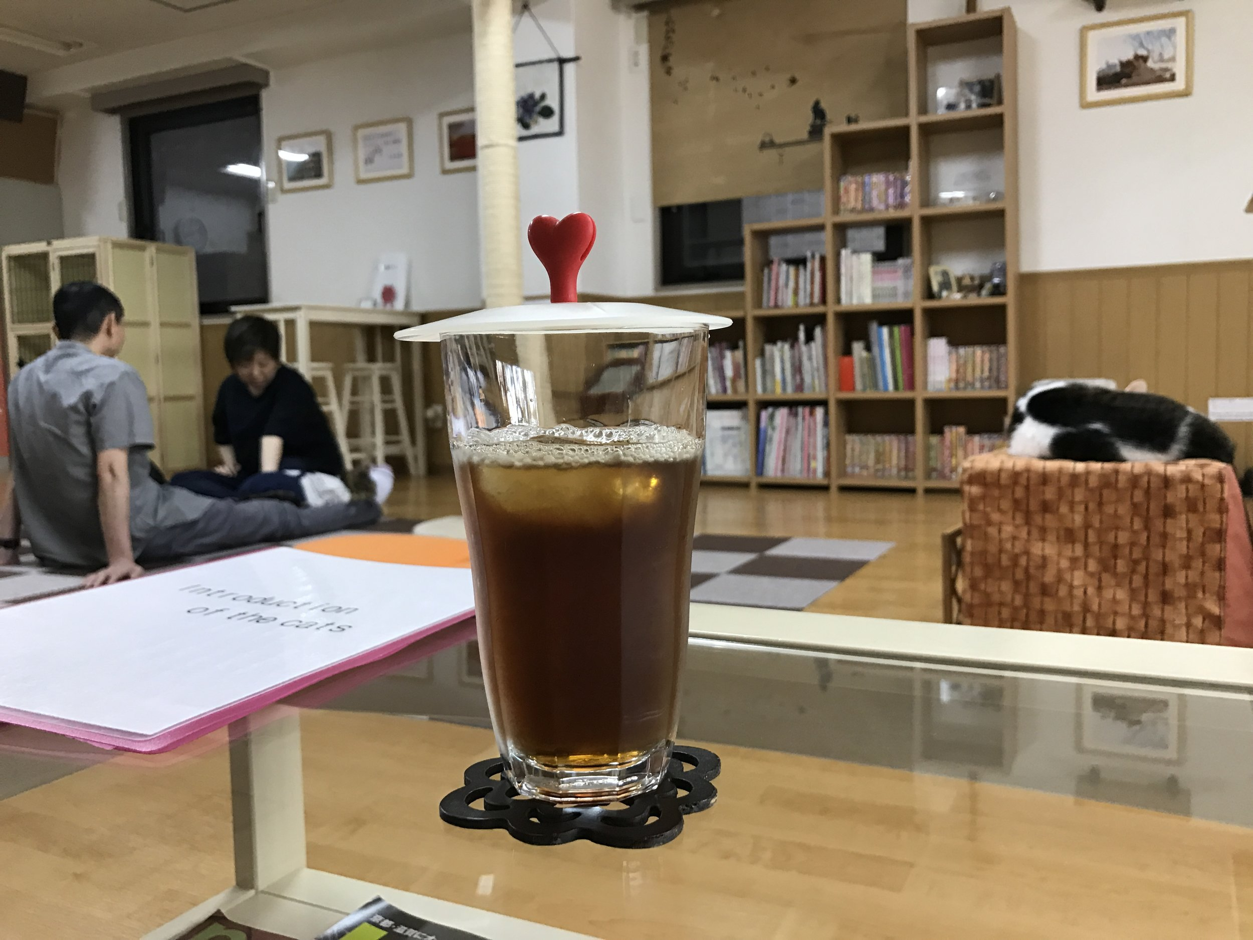 The cafe-style drinks are high quality at Cat Cafe Nekokaigi