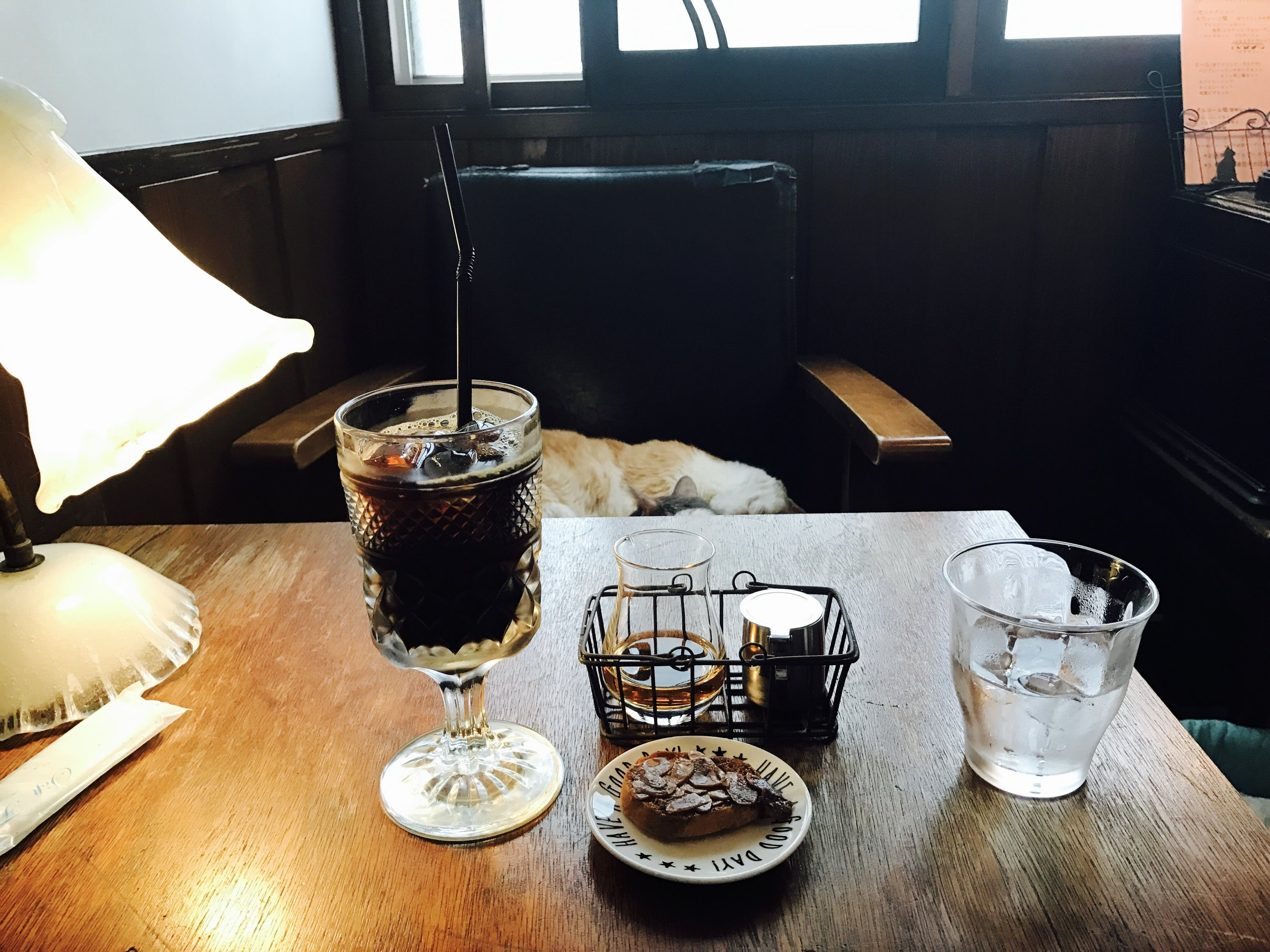 Cloud Nine serves cafe-style beverages, a step up in quality from the average Japanese cat cafe
